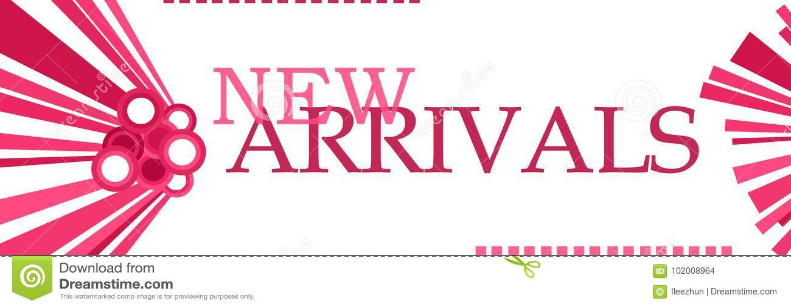 Gráficos cor-de-rosa das chegadas novas horizontais