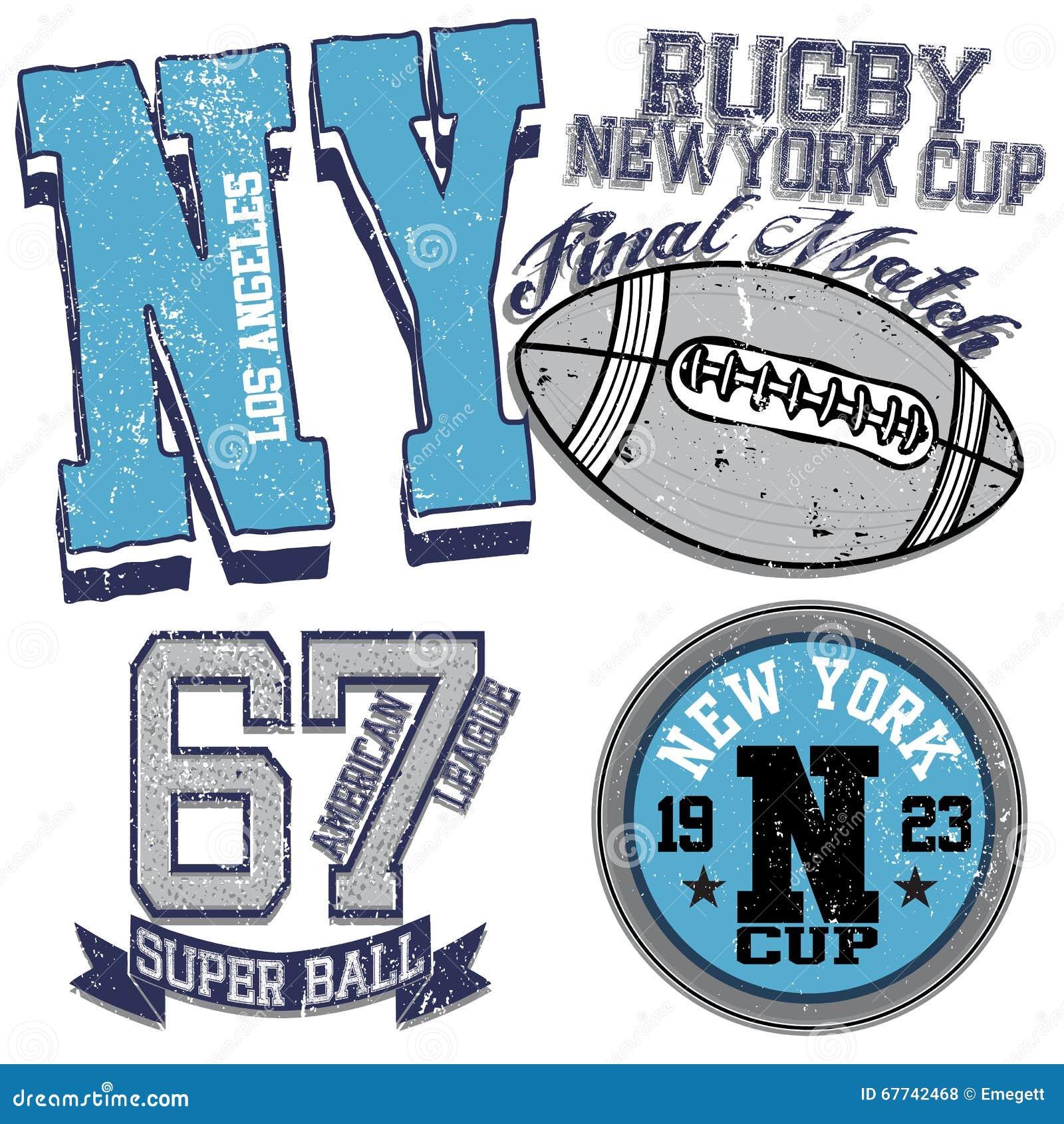 Gráficos da faculdade para o rugby de New York do t-shirt