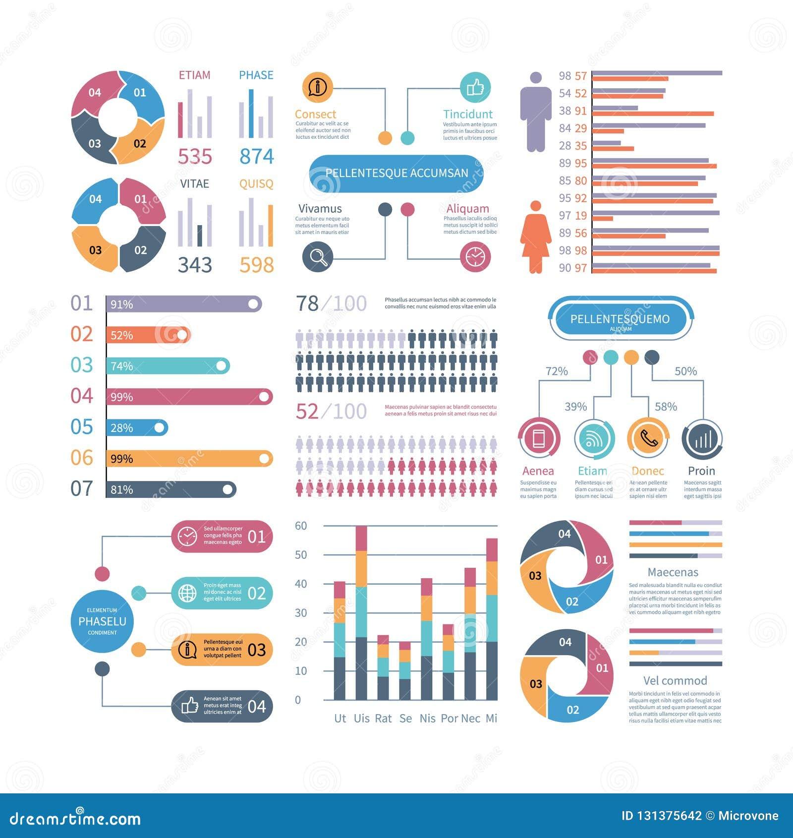 Gráficos de Infographic Organigrama de la opción del diagrama del infochart del proceso de la carta de negocio con los iconos de