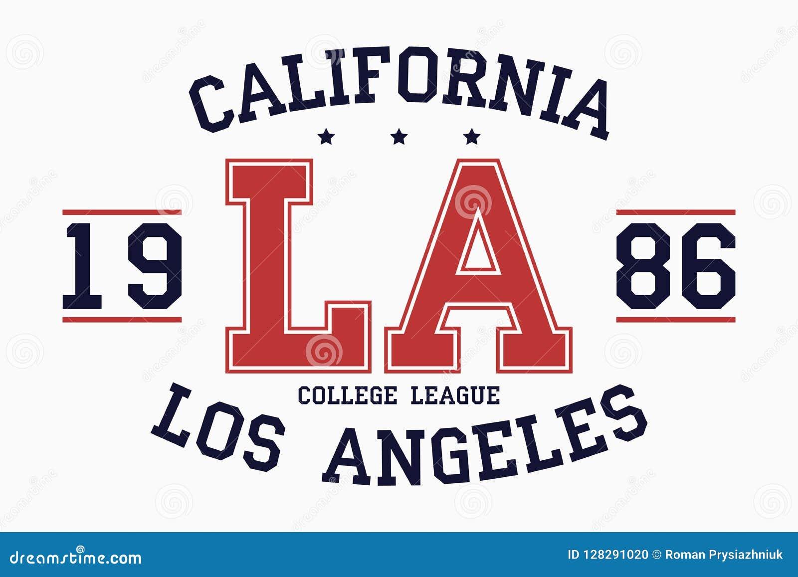 Gráficos de la tipografía del lema de California, Los Ángeles para la camiseta Impresión de la universidad para la ropa Sello del