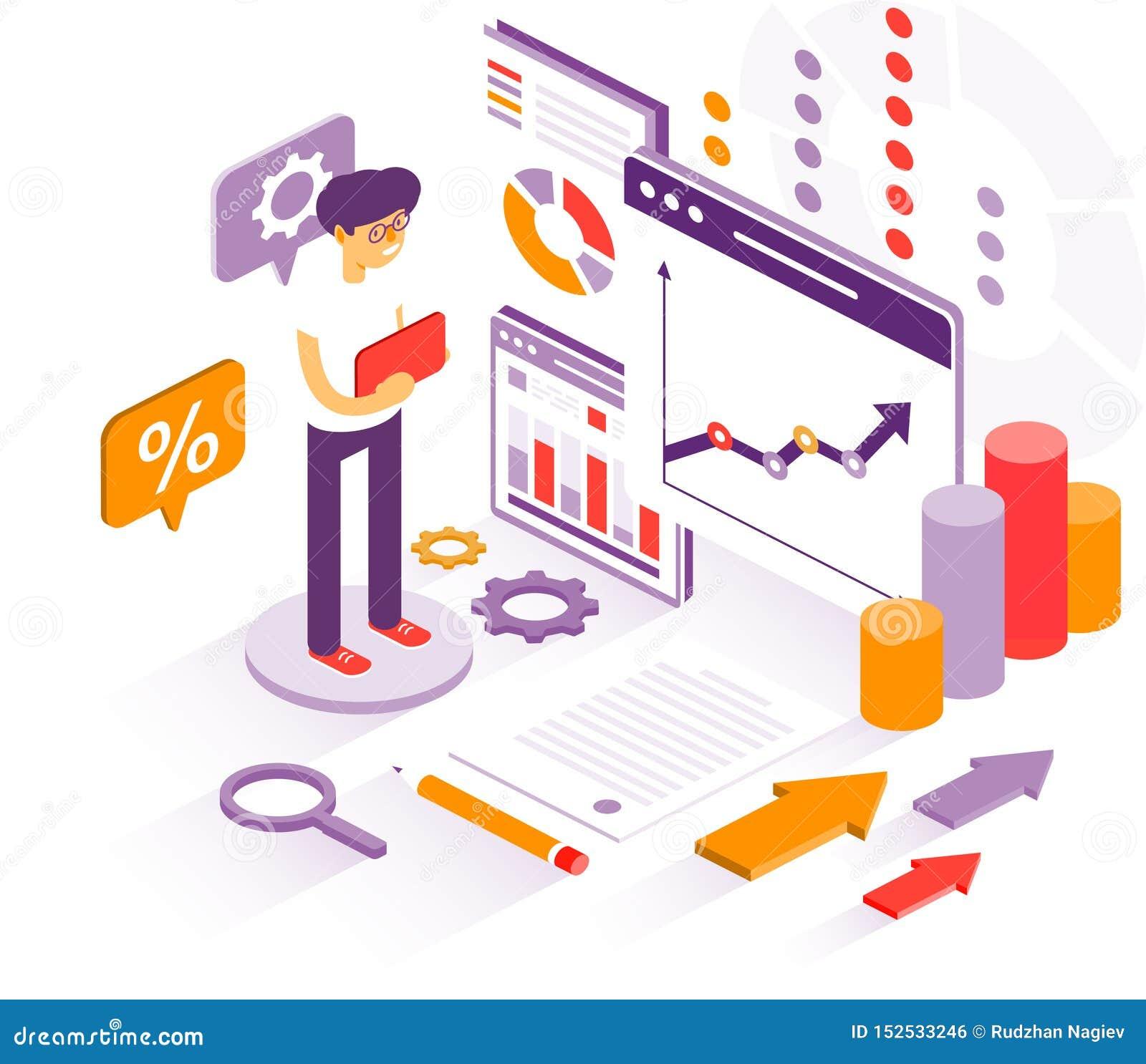 Gráficos de los estudios del hombre de negocios para el informe anual Gráficos de los estudios del hombre de negocios