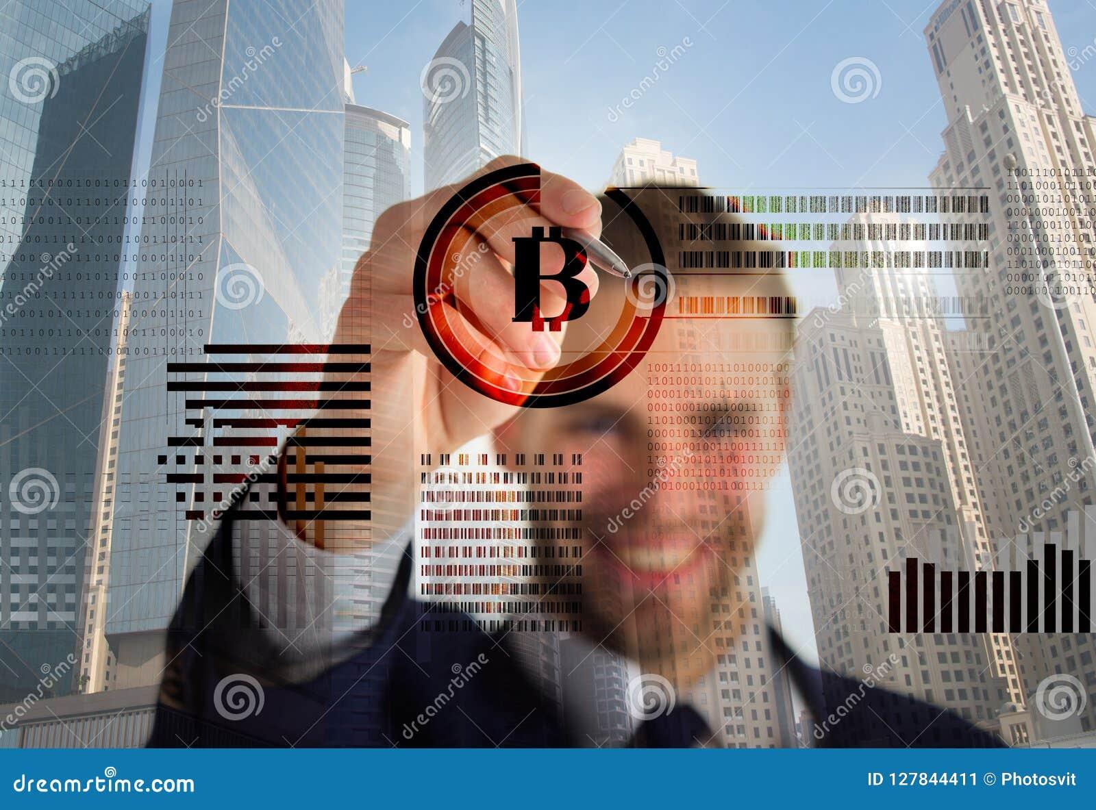 Gráficos de negócio virtuais interativos da exposição do homem Crie a carteira do bitcoin Bitcoin cripto de mineração da moeda Re