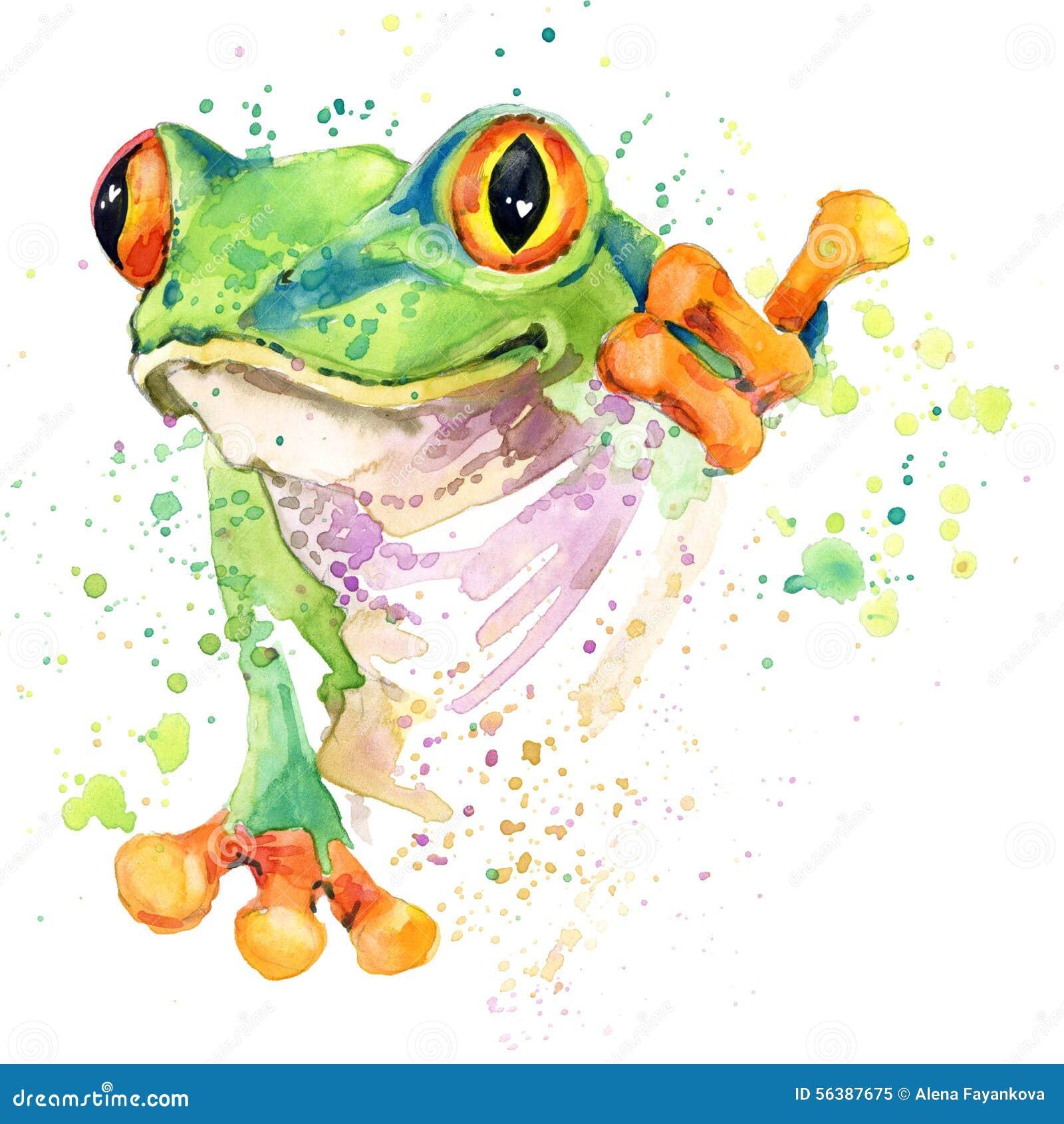 Gráficos divertidos de la camiseta de la rana ejemplo de la rana con el fondo texturizado acuarela del chapoteo rana inusual fa d