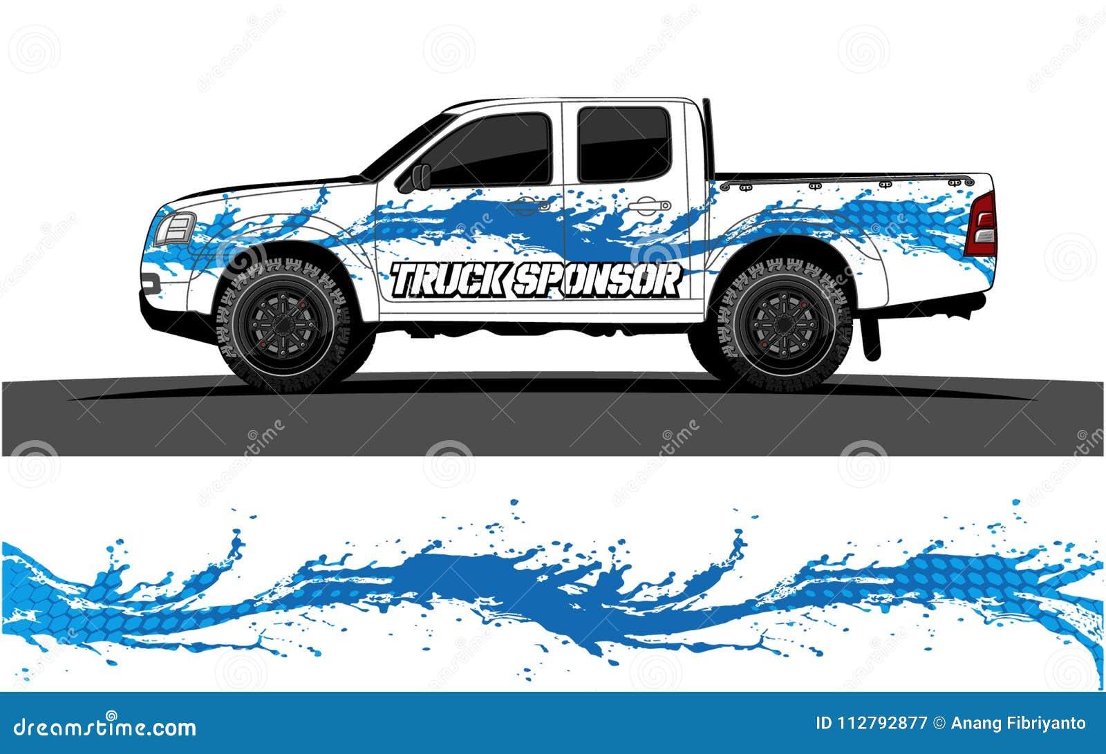 Gráficos do caminhão Veículos que competem o fundo das listras
