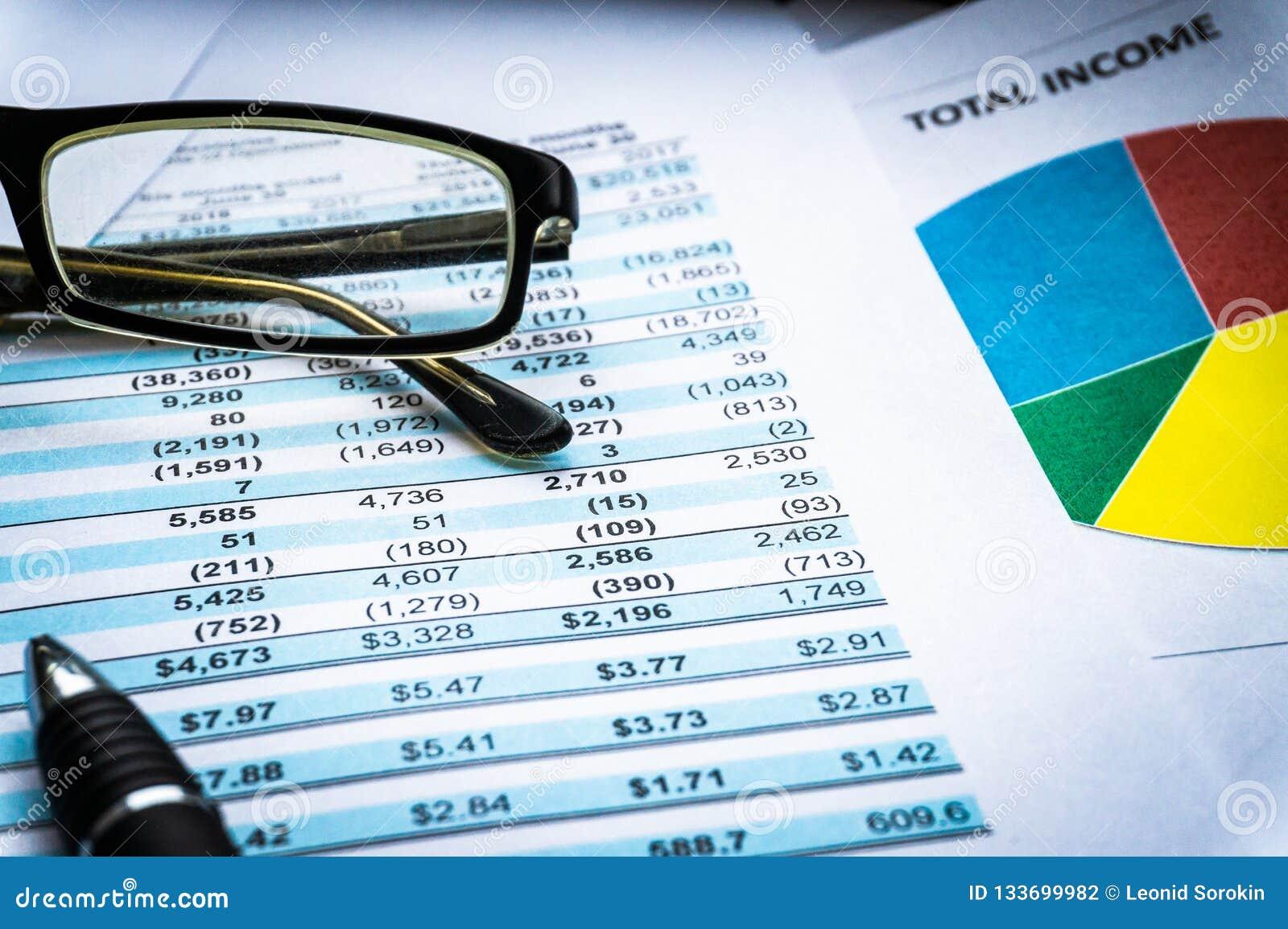 Gráficos do mercado de valores de ação da contabilidade financeira indicação da análise