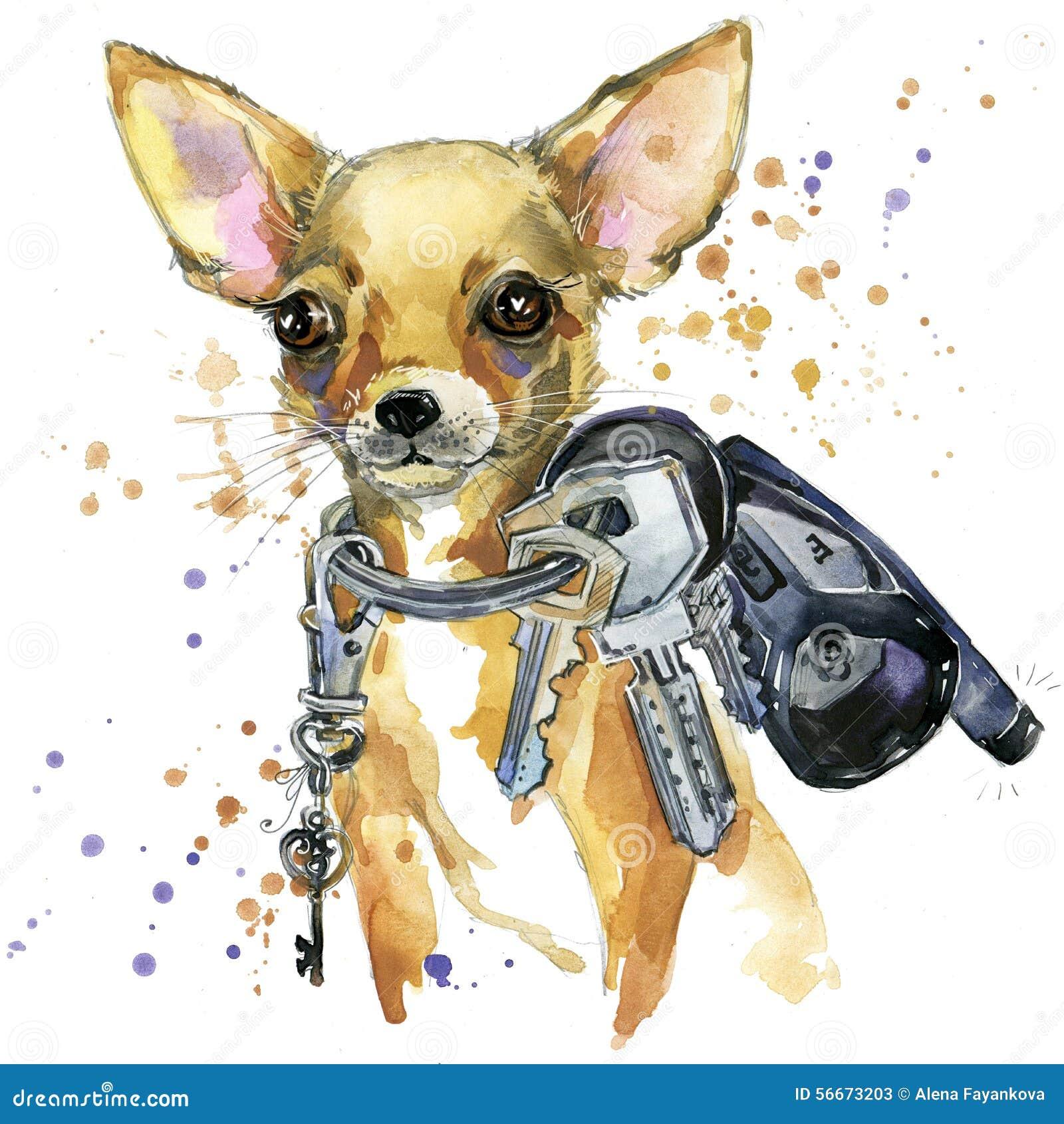 Gráficos do t-shirt do cão do terrier de brinquedo a ilustração do cão do terrier de brinquedo com aquarela do respingo textured