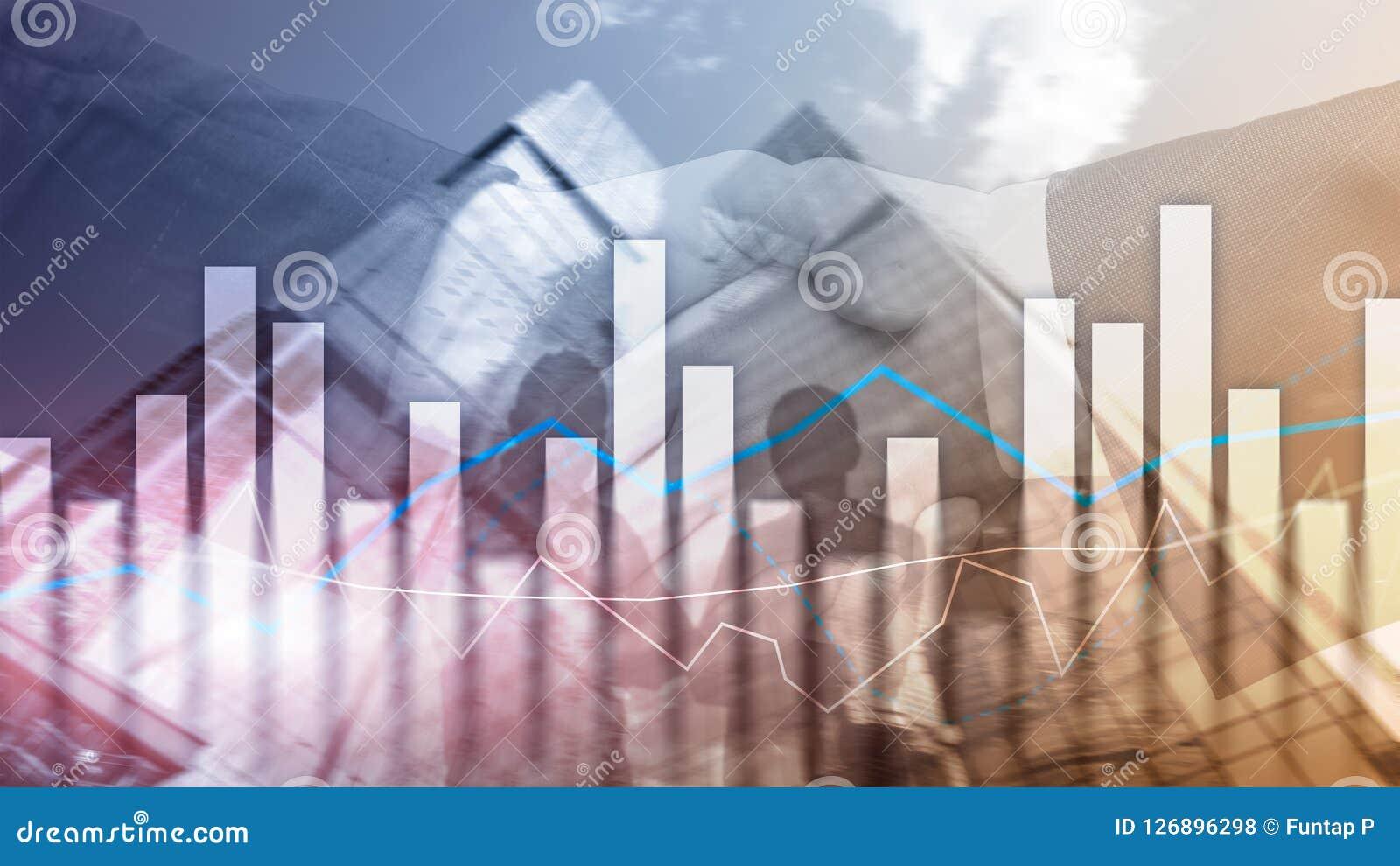 Gráficos e cartas financeiros no fundo borrado do centro de negócios Invesment e conceito de troca