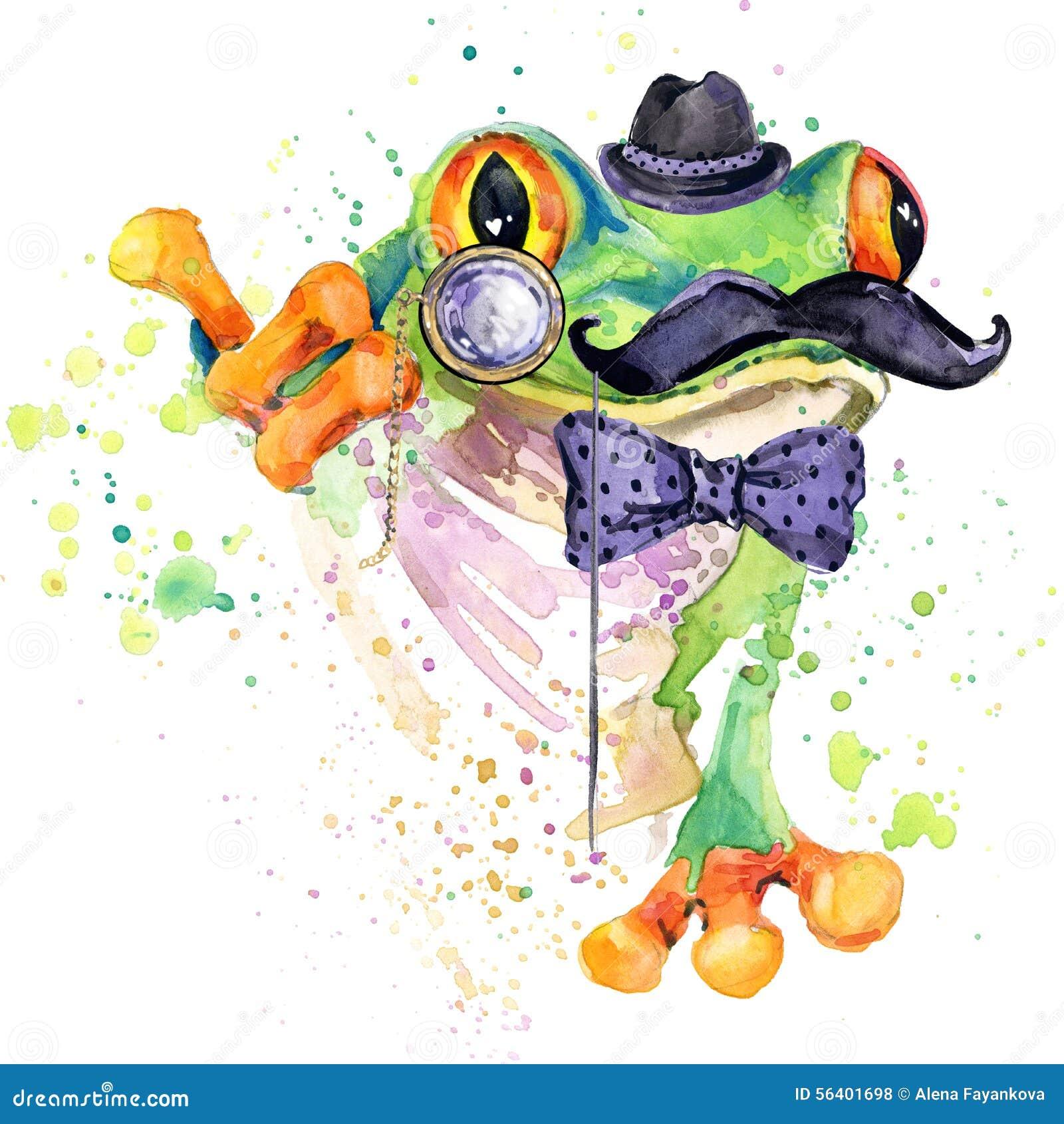 Gráficos engraçados do t-shirt da rã ilustração da rã com fundo textured aquarela do respingo fá incomum da rã da aquarela da ilu