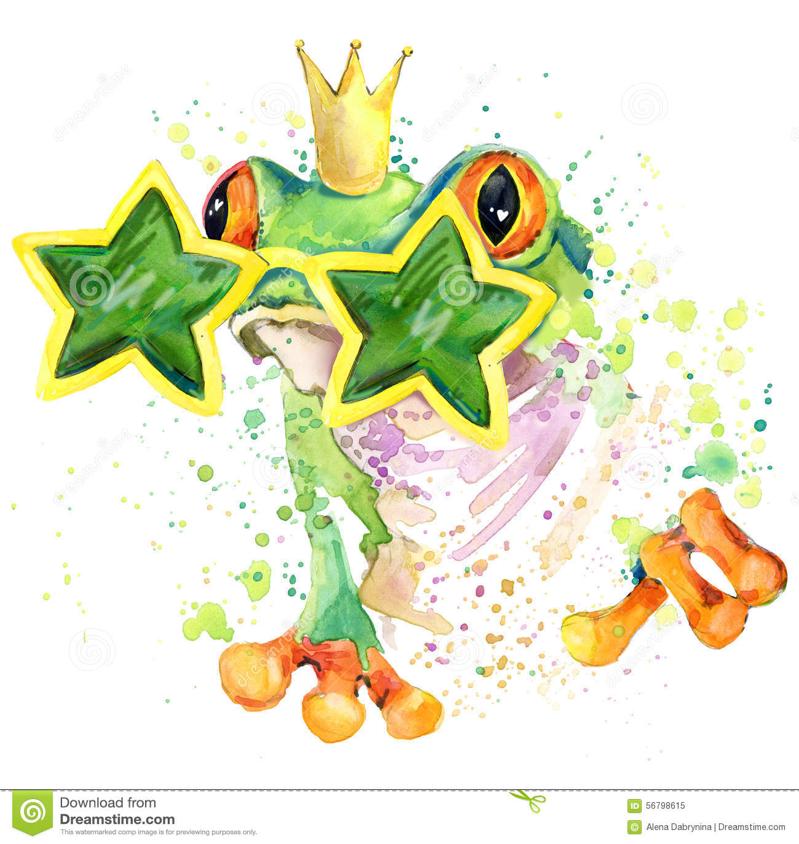 Gráficos frescos do t-shirt da rã a ilustração da rã verde com aquarela do respingo textured o fundo aquarela incomum da ilustraç