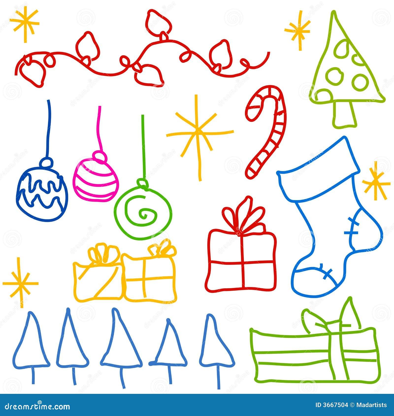 Graficos Infantiles Del Doodle De La Navidad Stock De Ilustracion - Imagenes-infantiles-de-navidad