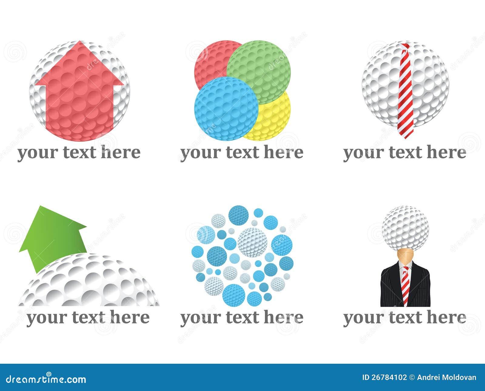 Gráficos vectoriales de las insignias de las pelotas de golf