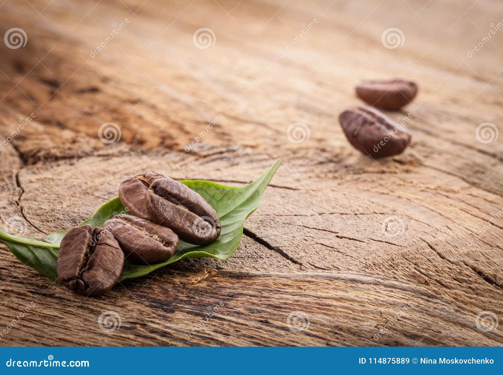 Grãos de café e folha verde no grunge de madeira