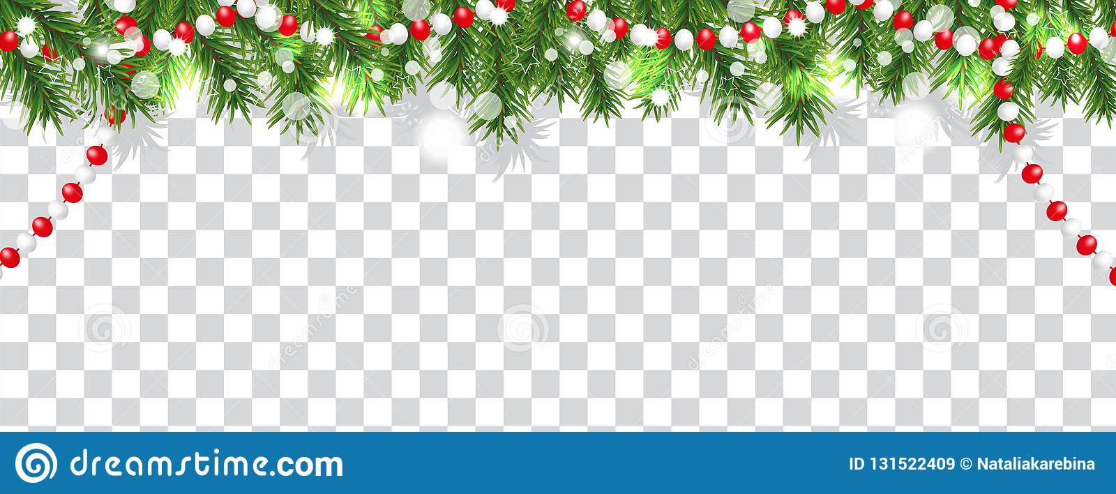 Gräns för jul och för lyckligt nytt år av julgranfilialer och pärlor på genomskinlig bakgrund Semestrar garnering vektor