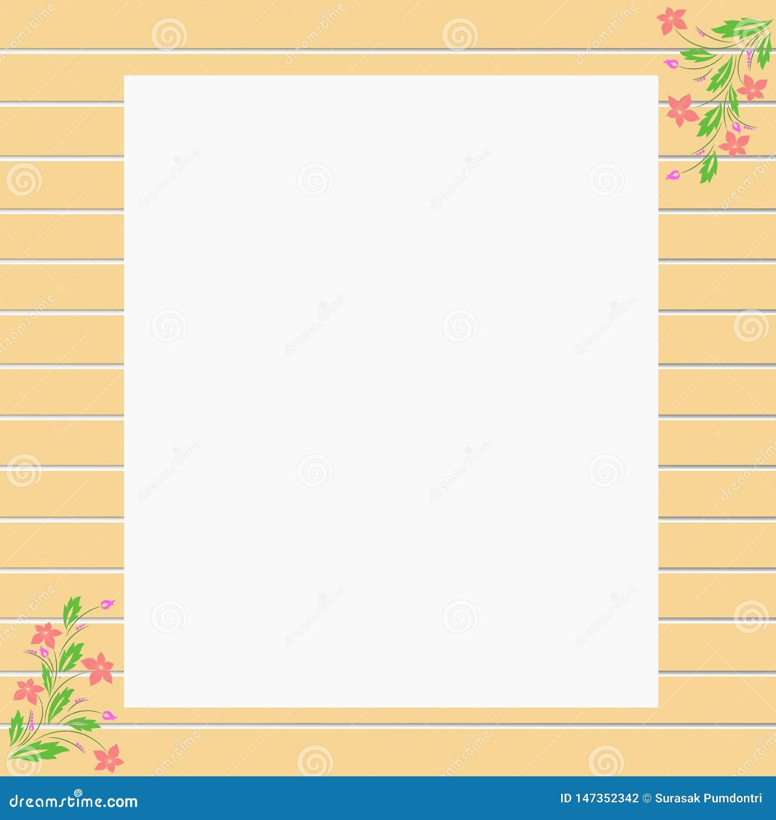Gräns för ram för vektorbruntträvägg med blomman för text