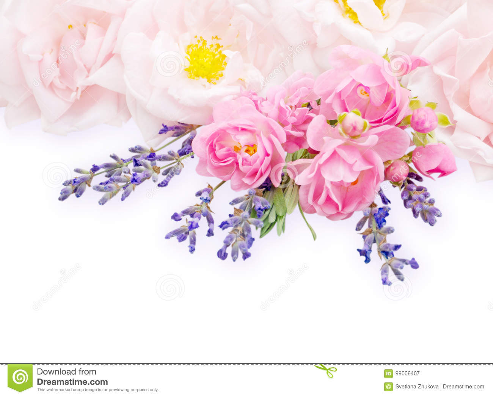 Gräns - rosa rosor och lavendelbukett