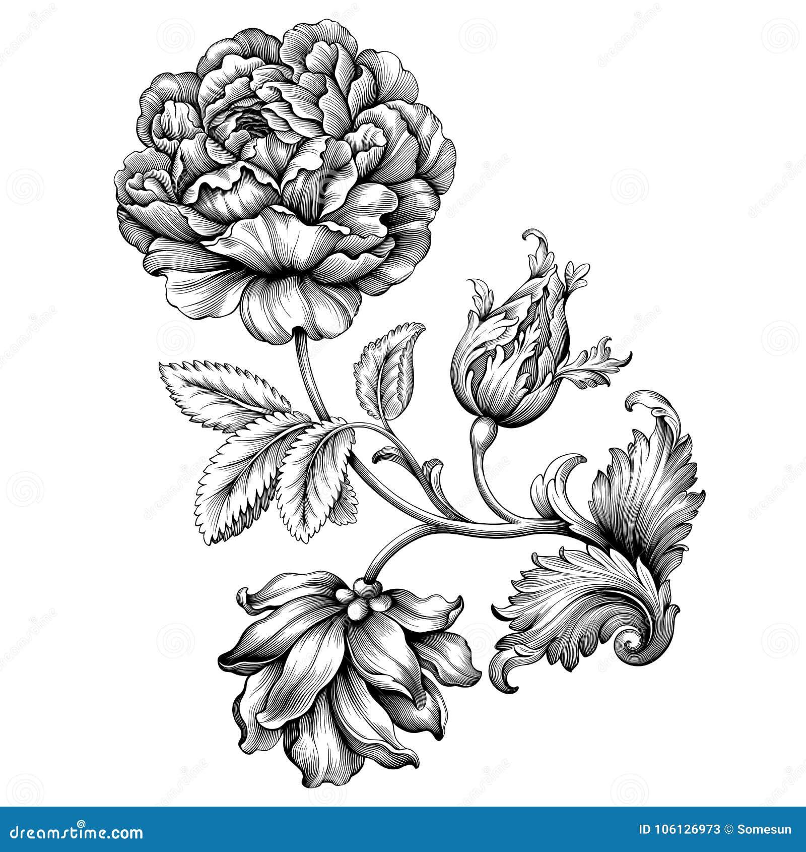 Gränsen för ramen för blommatappning steg den blom- barocka viktorianska