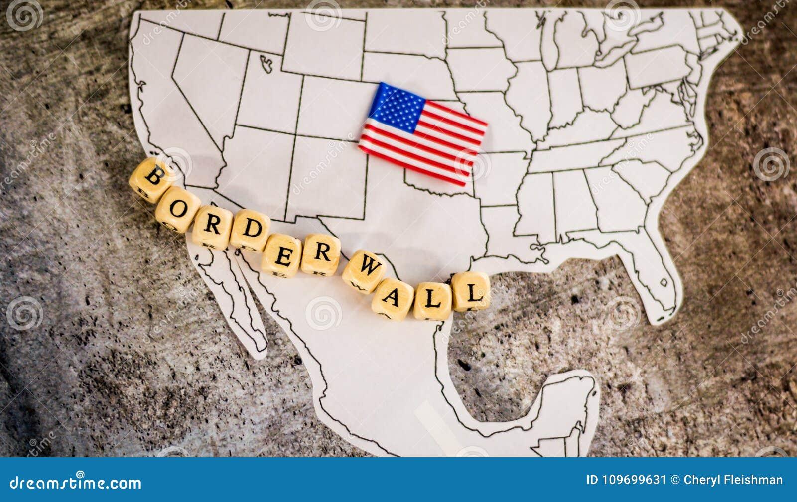 Gränsväggaffärsidé med den Förenta staterna- och Mexico översikten