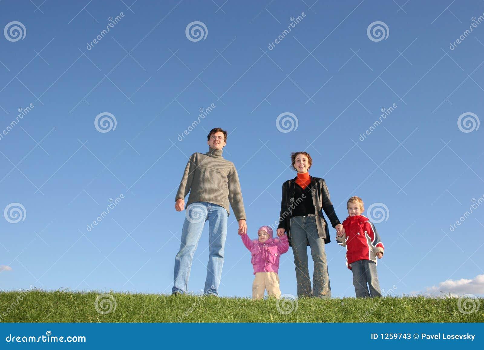 Gräs för familj fyra
