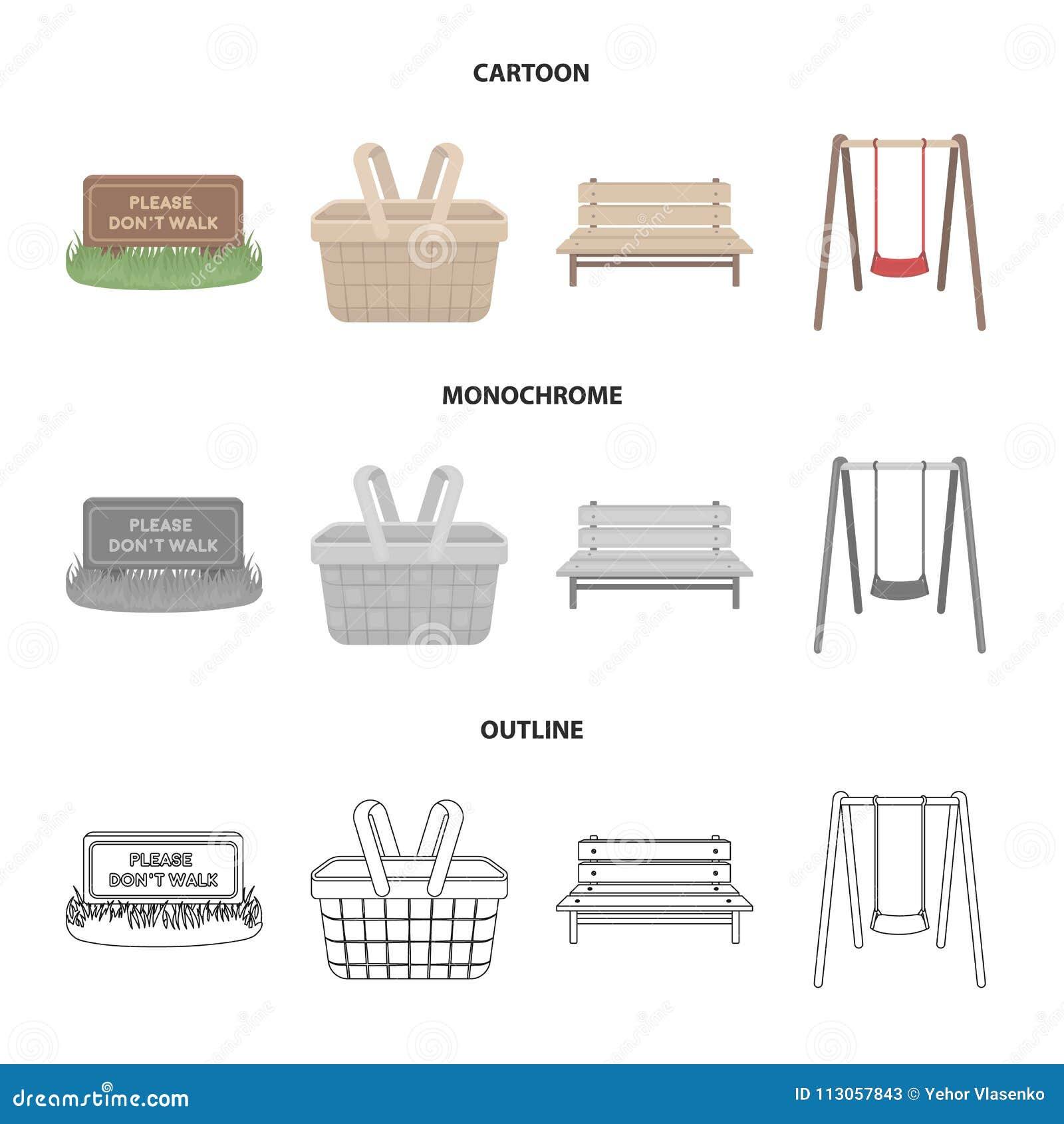 Gräsmatta med ett tecken, en korg med mat, en bänk, en gunga Parkera fastställda samlingssymboler i tecknade filmen, översikten,