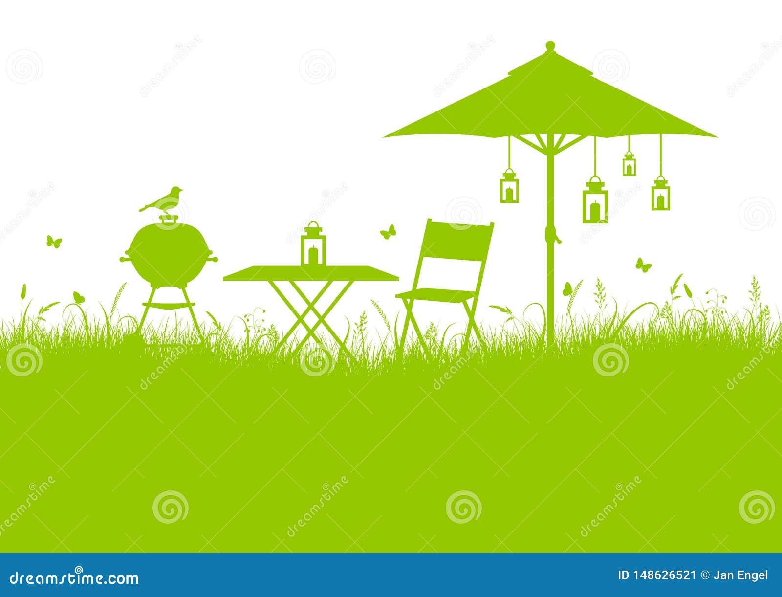 Gräsplan för bakgrund för sommarträdgårdgrillfest