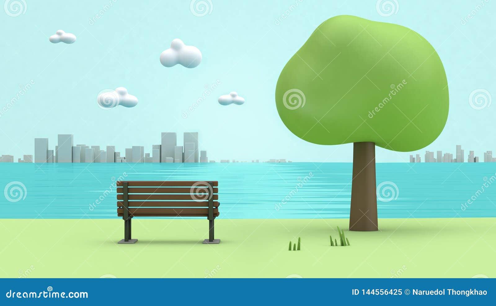 Gräsplan parkerar flodsidostol, träd, stadstecknad filmstil låg poly 3d för att framföra