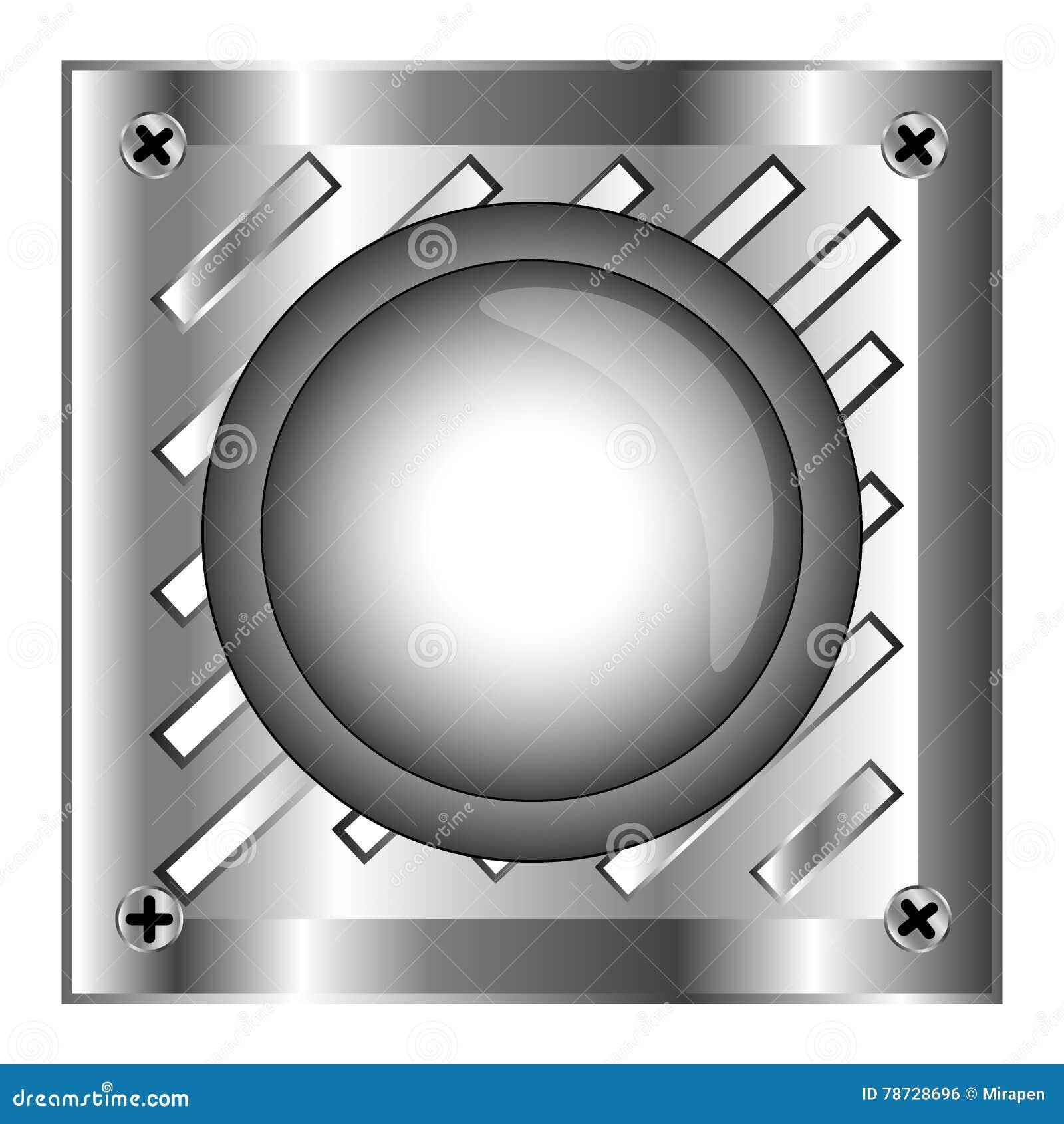 Grå färger alarmerar den skinande knappen med metallbeståndsdelar, bakgrund