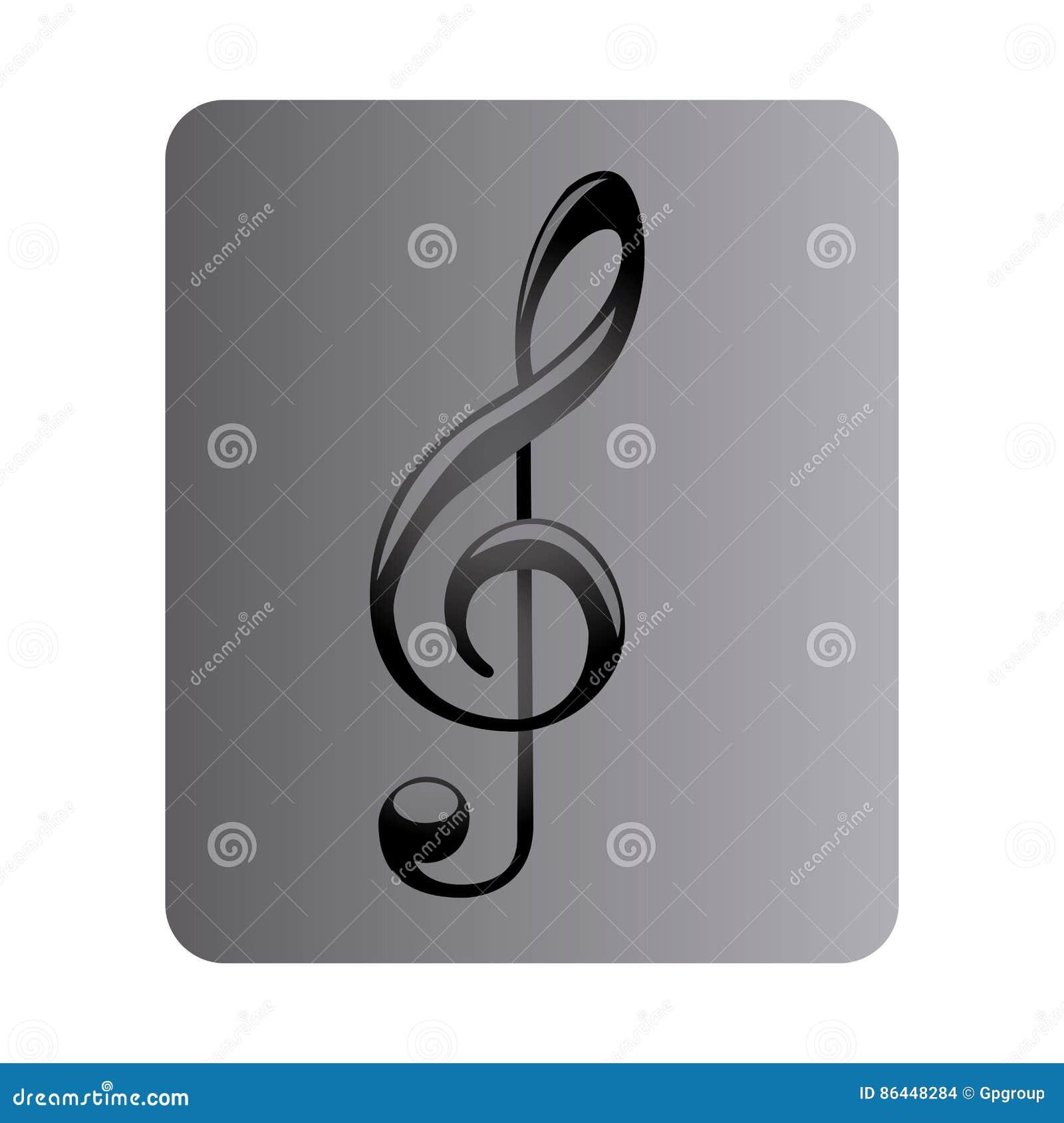 Grå fyrkantig knapp med teckenmusikG-klav
