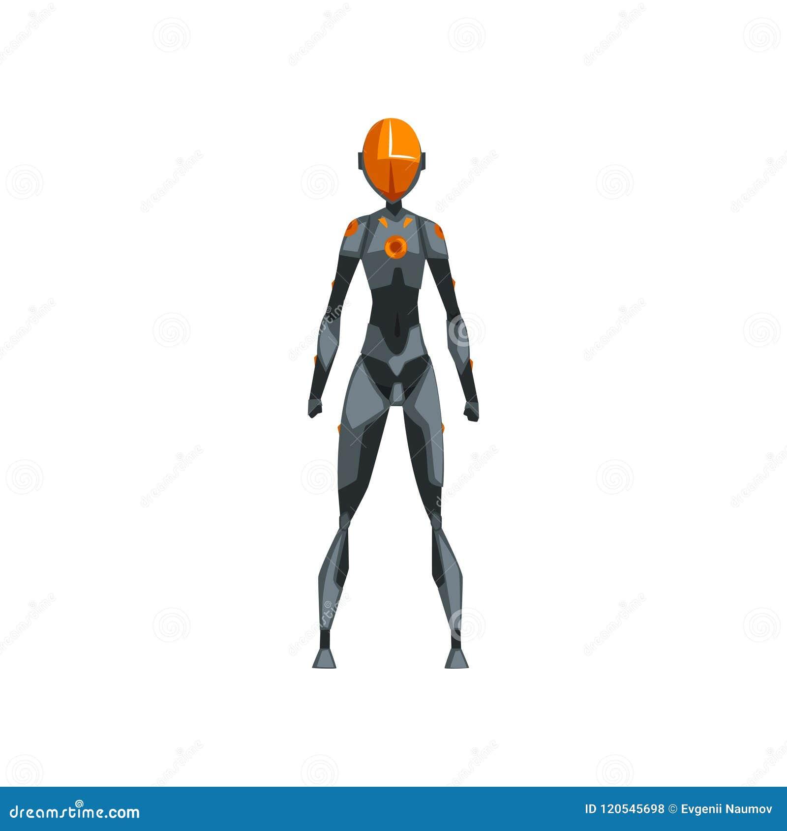 Grå kvinnlig robotutrymmedräkt, superhero, cyborgdräkt, vektorillustration för främre sikt på en vit bakgrund
