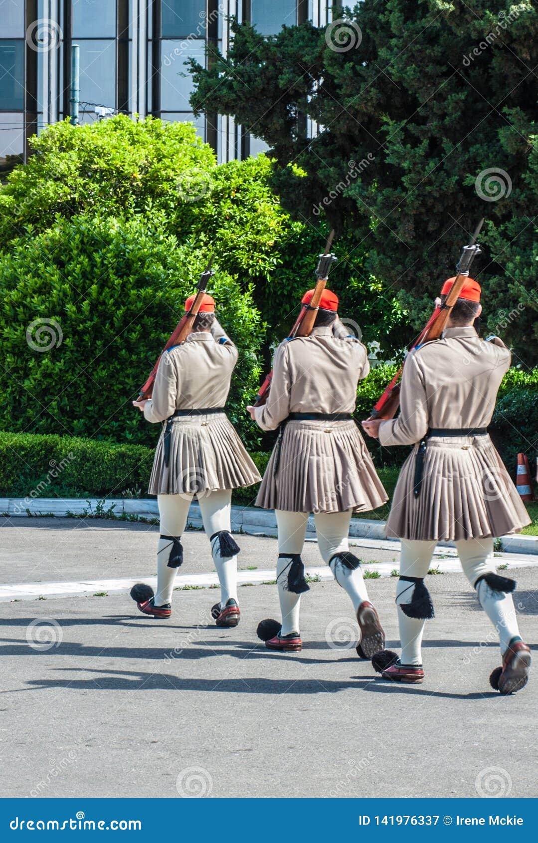 Grécia, Atenas, cerimonial, marcha das guardas presidenciais