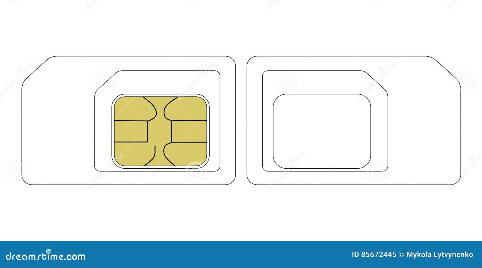 Größen-SIM-Karten-Schablone Vektor Abbildung - Illustration von ...