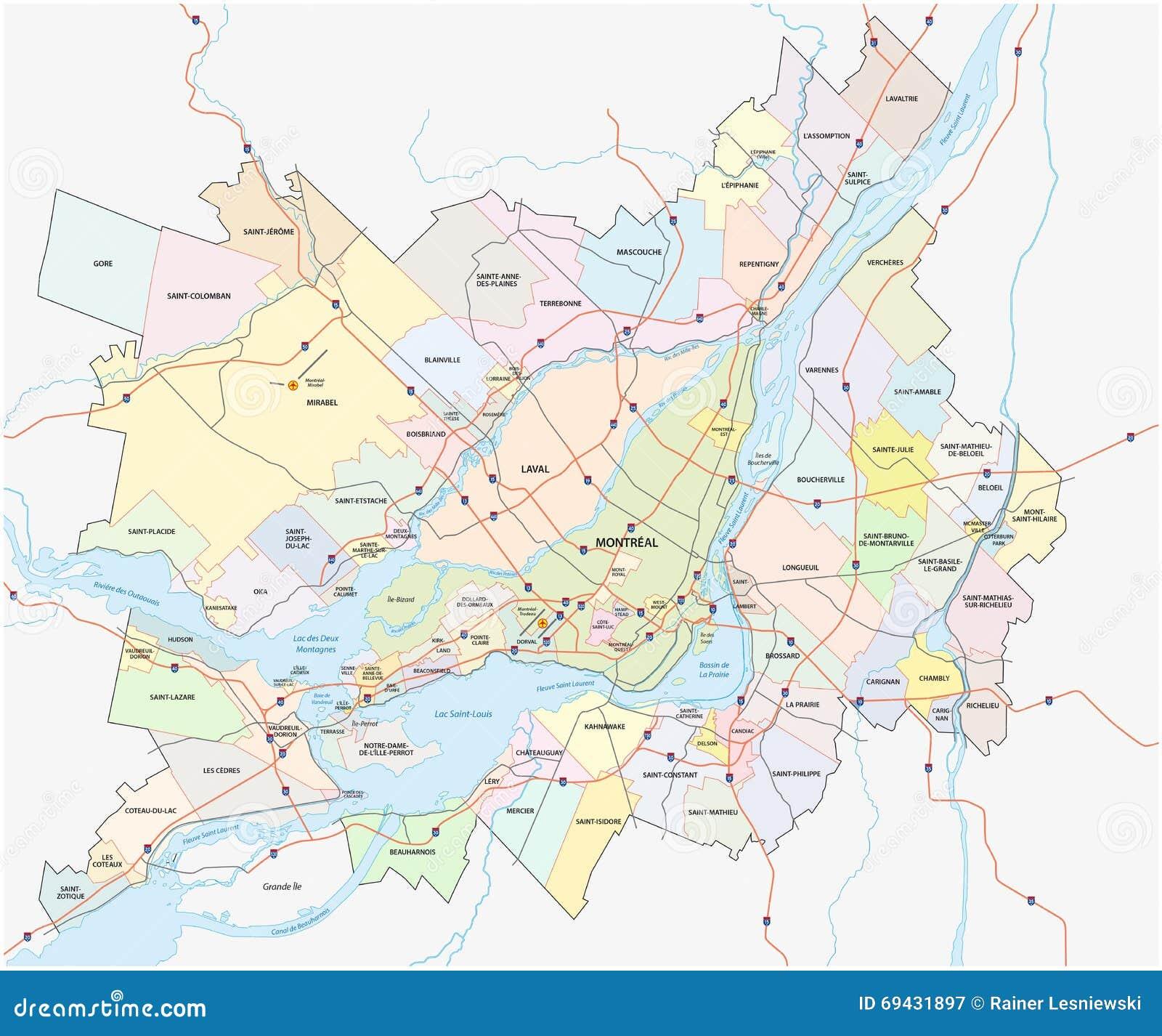 Grossere Montreal Karte Stock Abbildung Illustration Von Karte