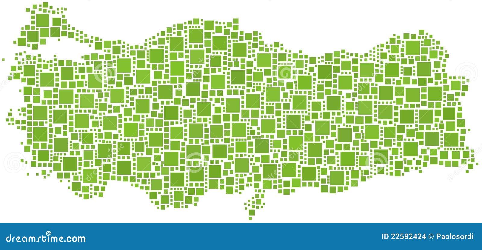 Grön översikt belagd med tegel kalkon