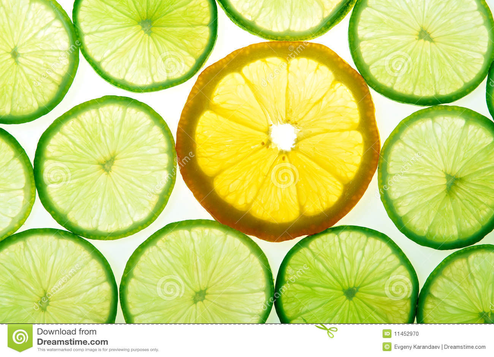 Grön citronlimefrukt skivar yellow