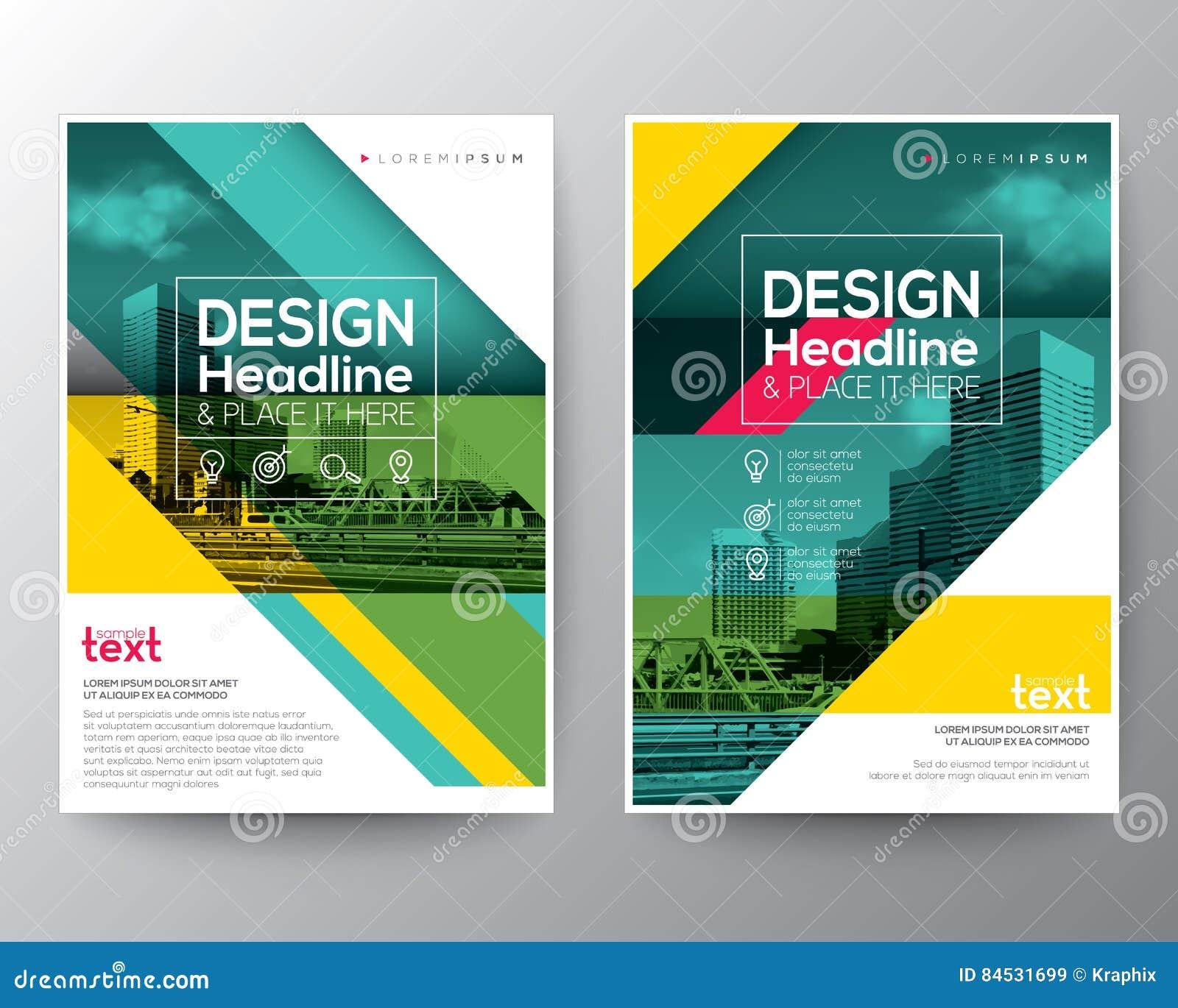Grön diagonal linje baner för affisch för reklamblad för broschyrårsrapporträkning
