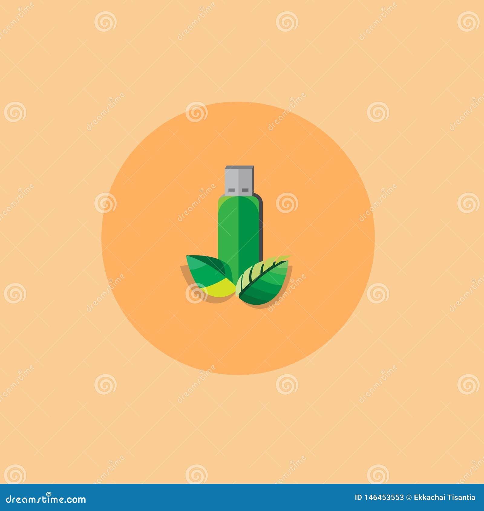 Grön färg för pråligt drev med plan stil för blad vektor illustration