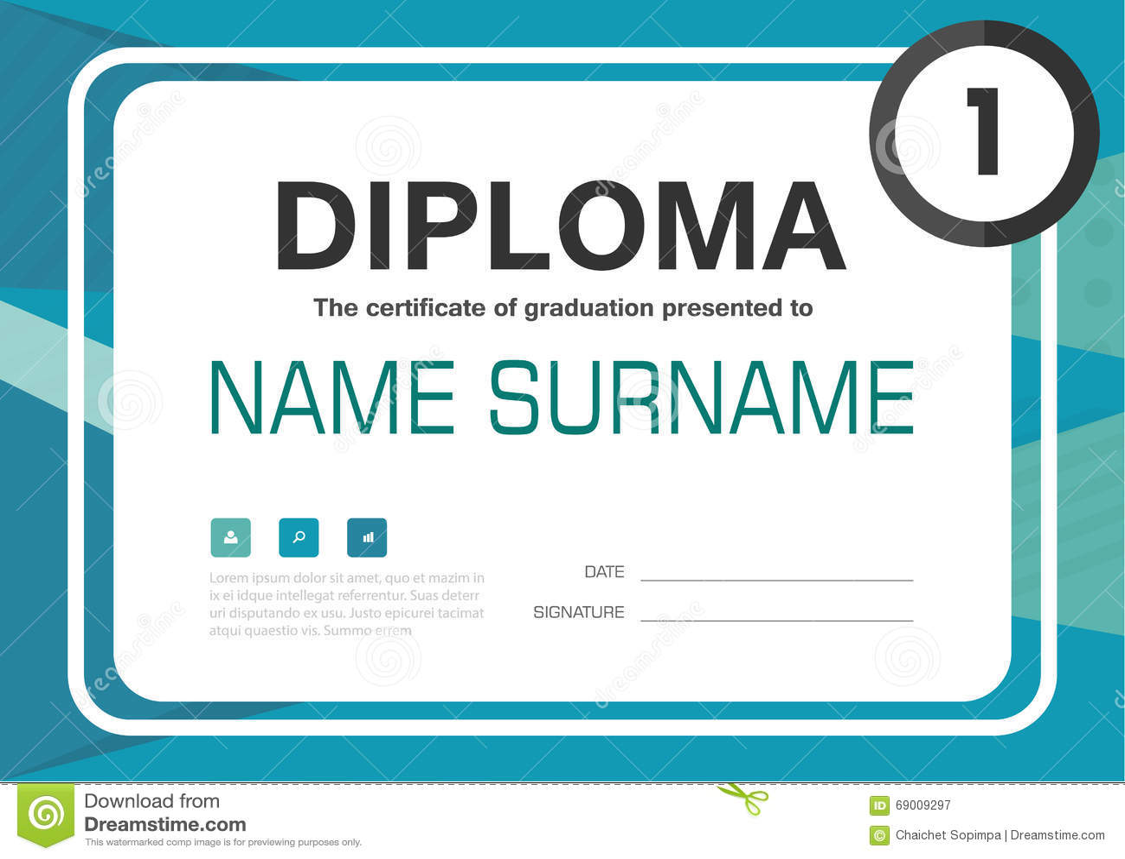 Grön för diplomcertifikat för blått A4 design för orientering för mall för bakgrund