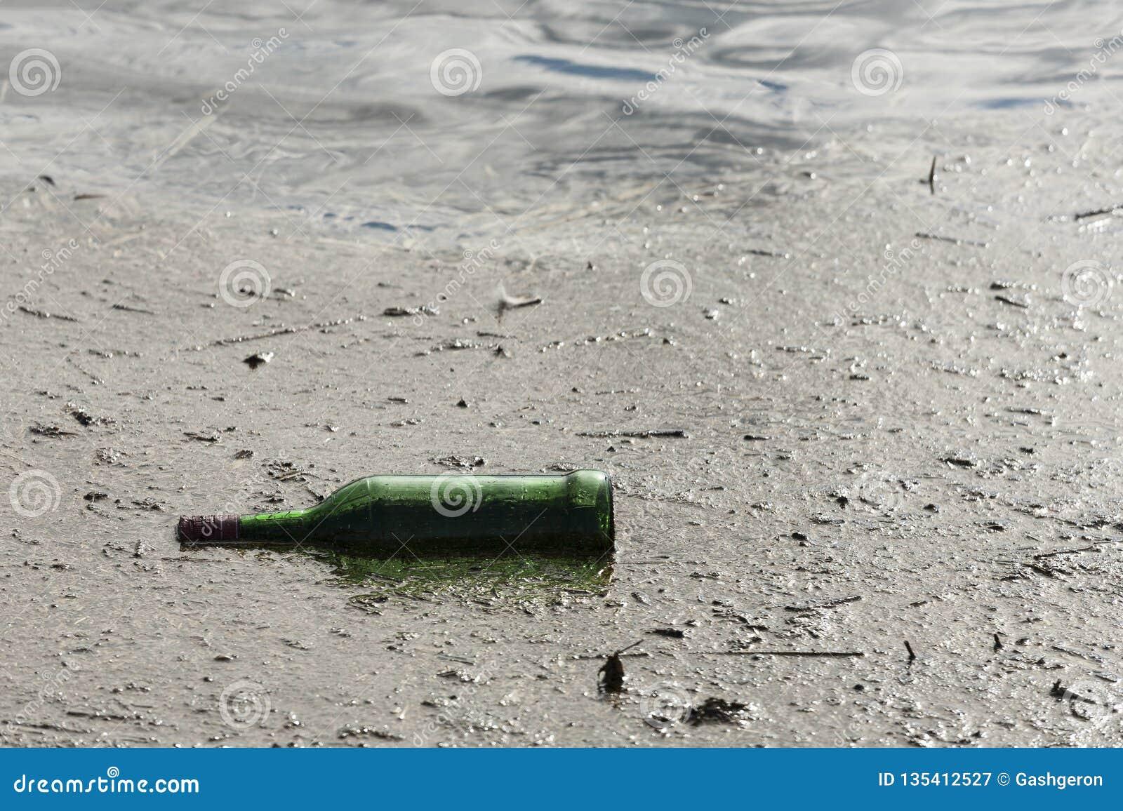 Grön flaska i ett damm, en förorening och skräpa ner Förkylning tonar