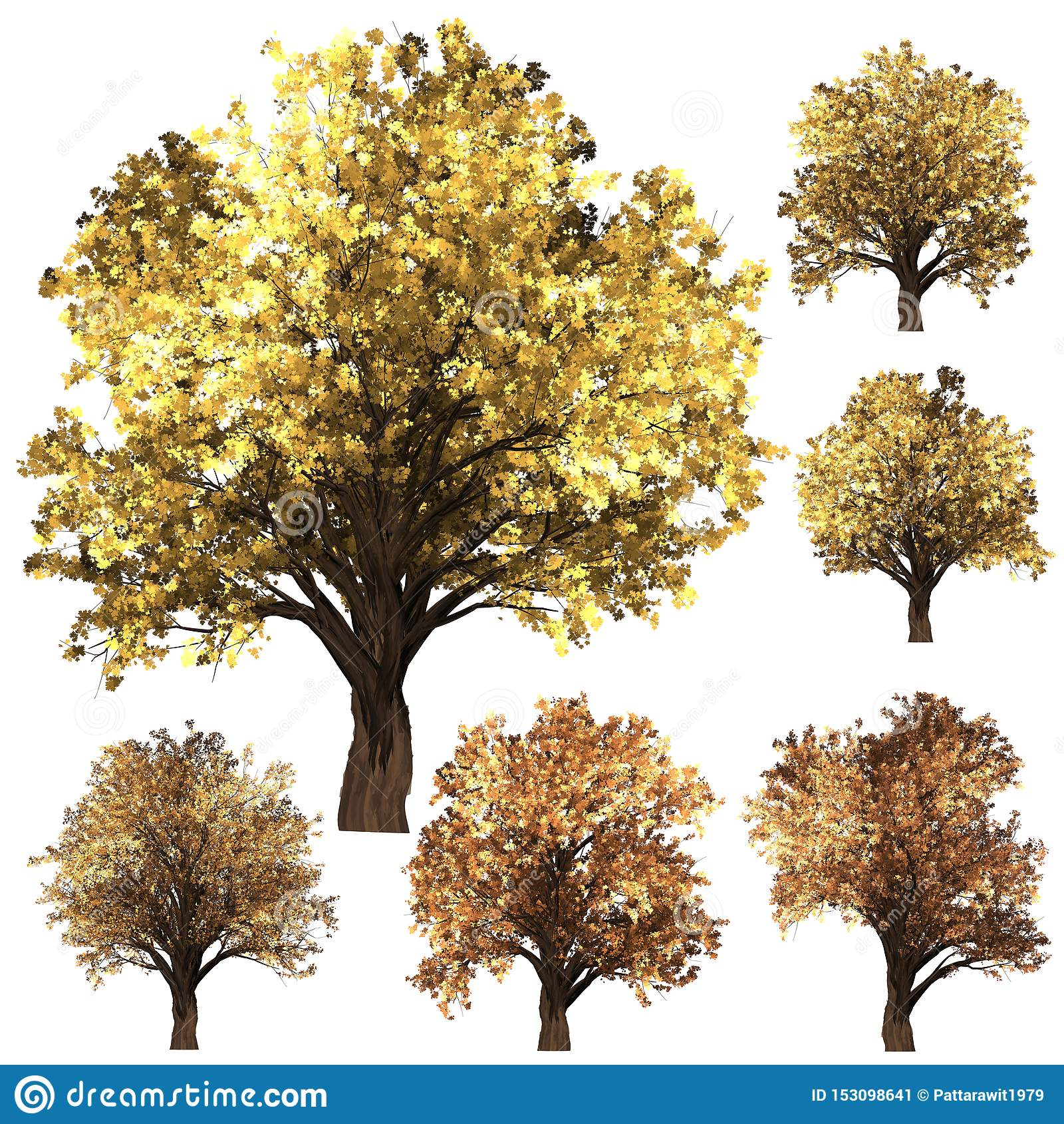 Grön Forrest trädbakgrund fastställt illustrationträd vit isolat f?r bakgrund