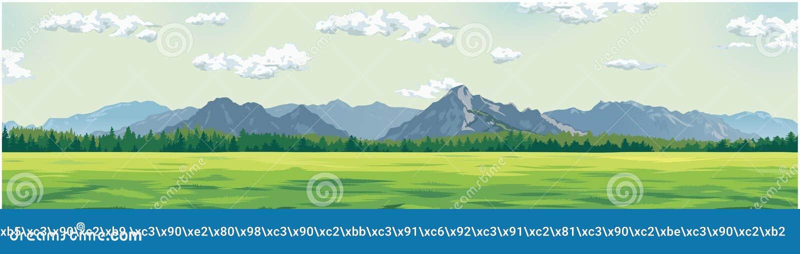 Grön glänta mot bakgrunden av berg