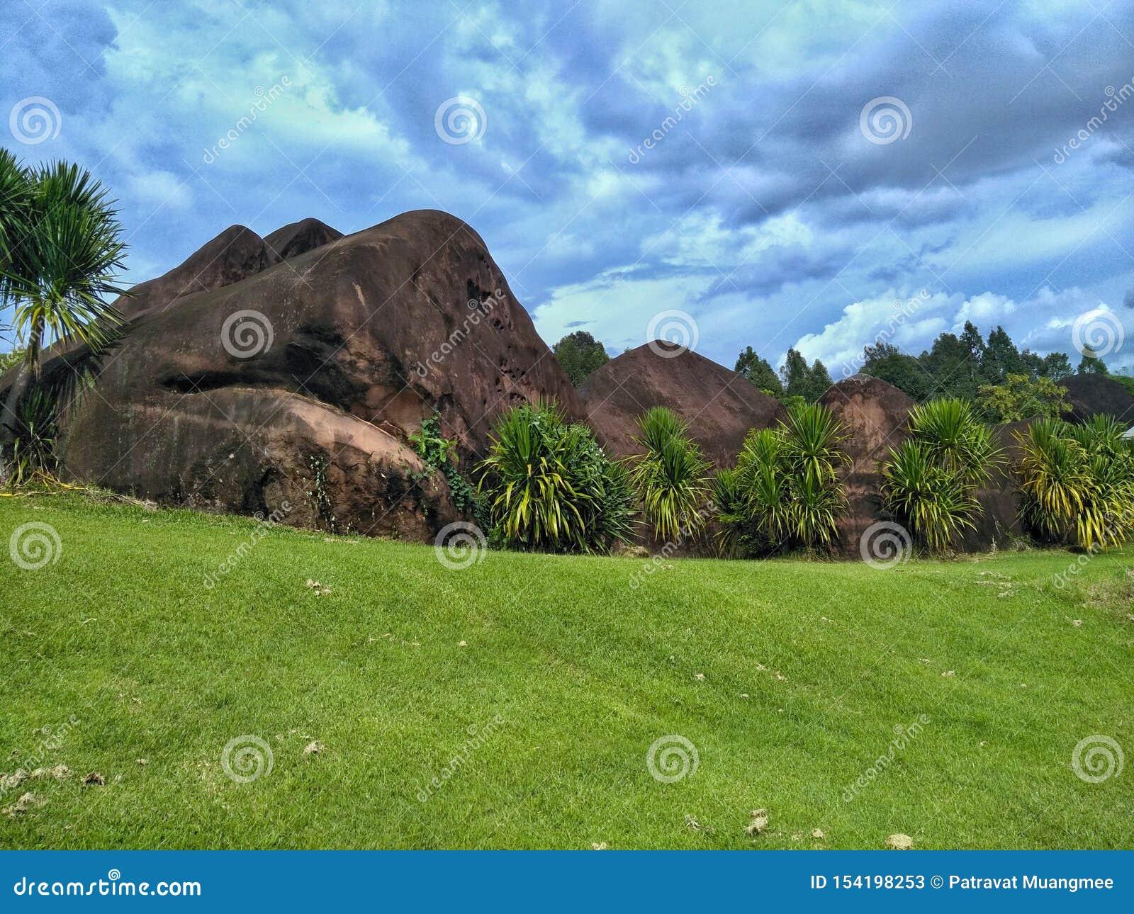 Grön gräsmatta och stor sten med mulen himmel