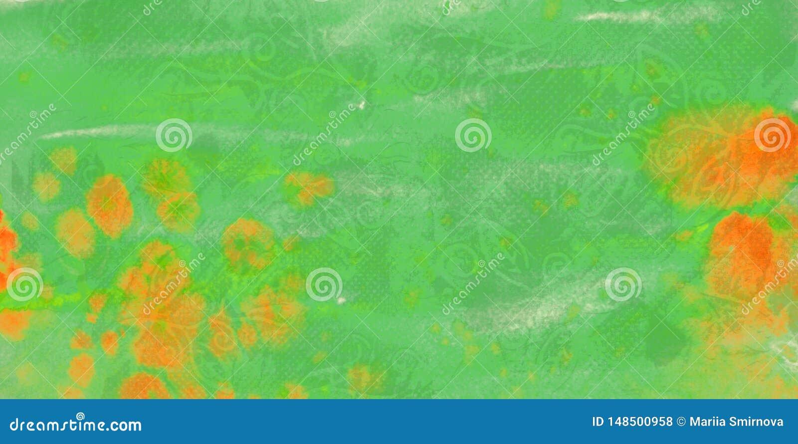 Grön grungevattenfärgbakgrund med fläckar