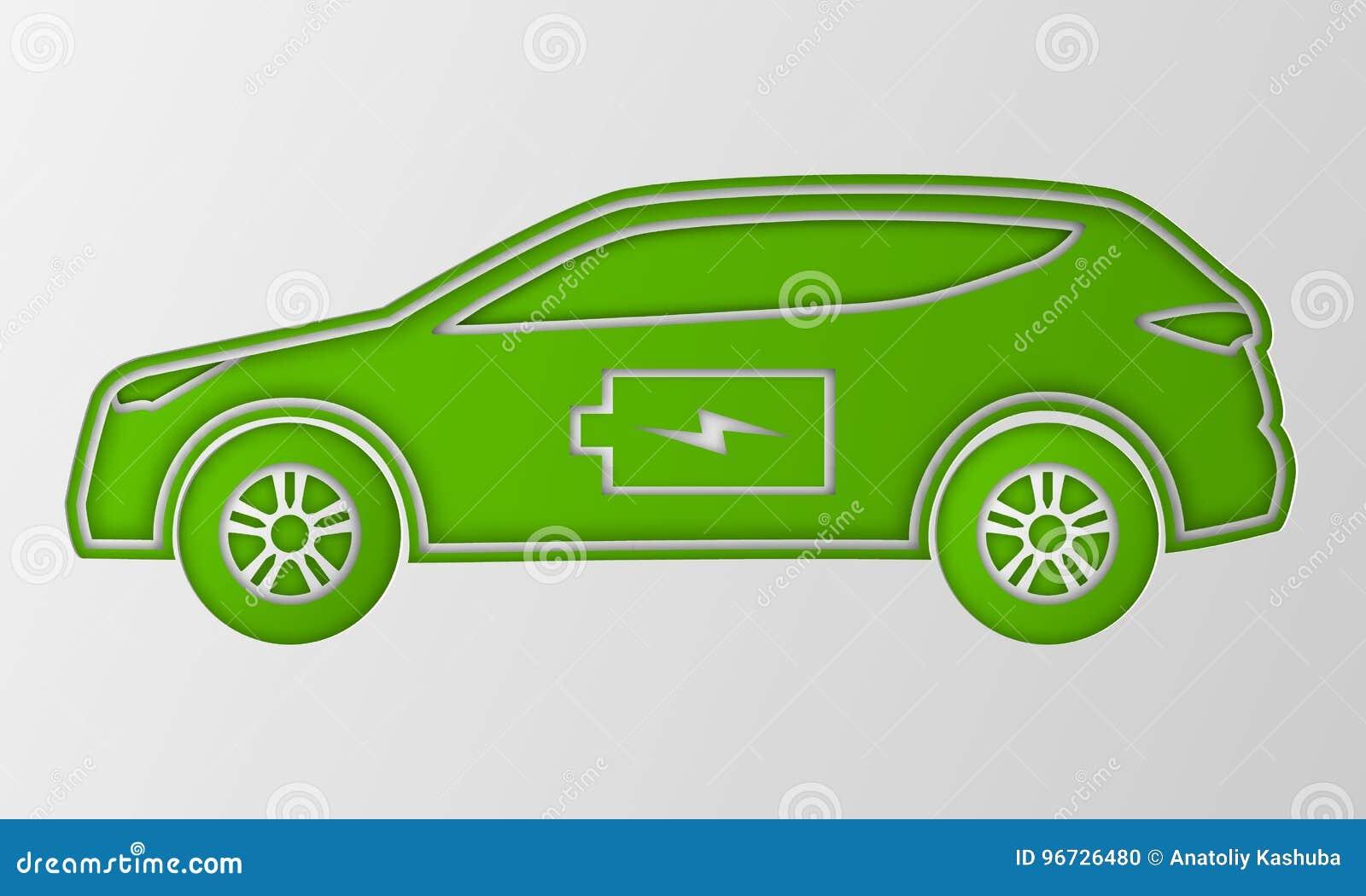 Grön hybrid- bil i pappers- konststil Elkraft drivit miljö- medel Konturbil med batteritecknet