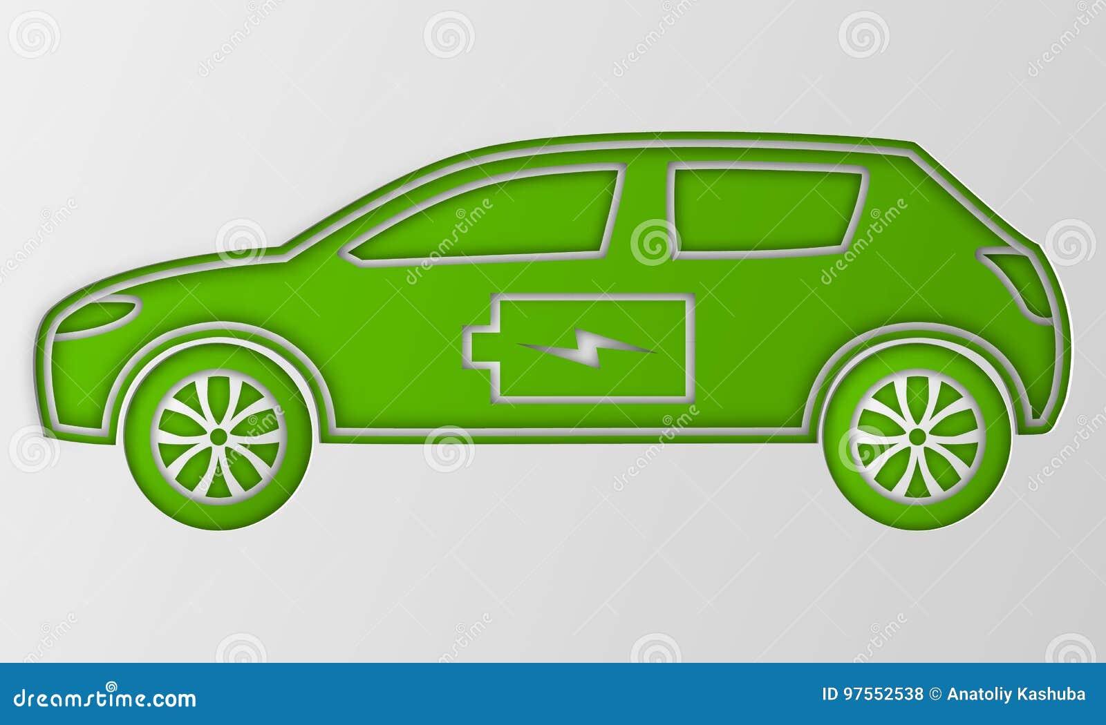 Grön hybrid- origamibil i pappers- konst Elkraft drivit miljö- medel Konturbil med batteritecknet