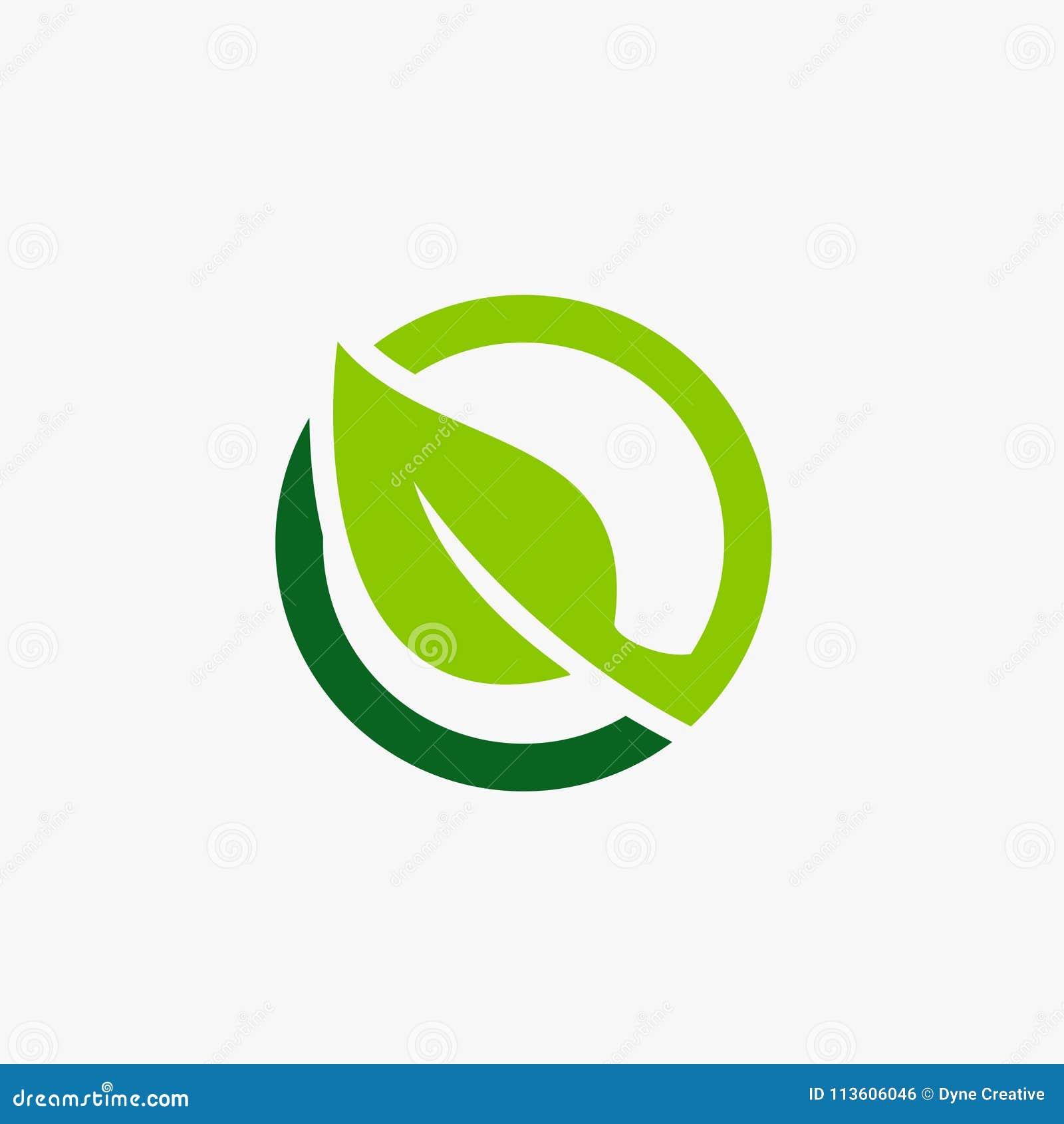 Grön illustration för bladcirkelsymbol