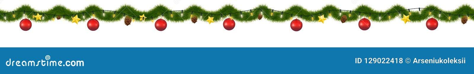 Grön julgirland för garnering och webbplatser