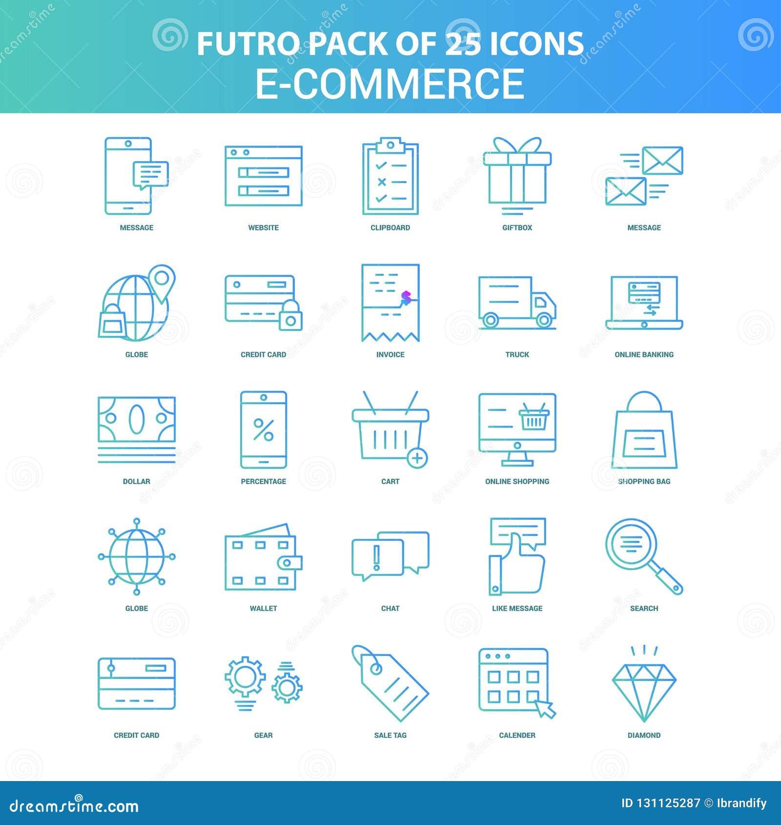 25 grön och blå packe för Futuro E-kommers symbol
