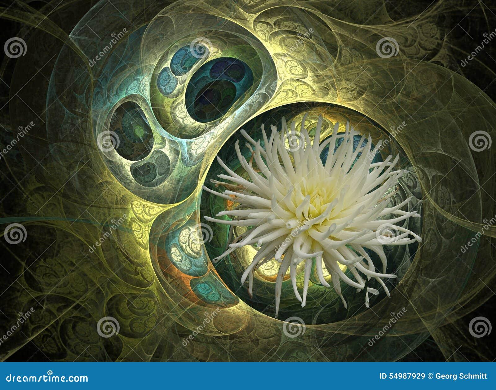 Grön och vit blomma