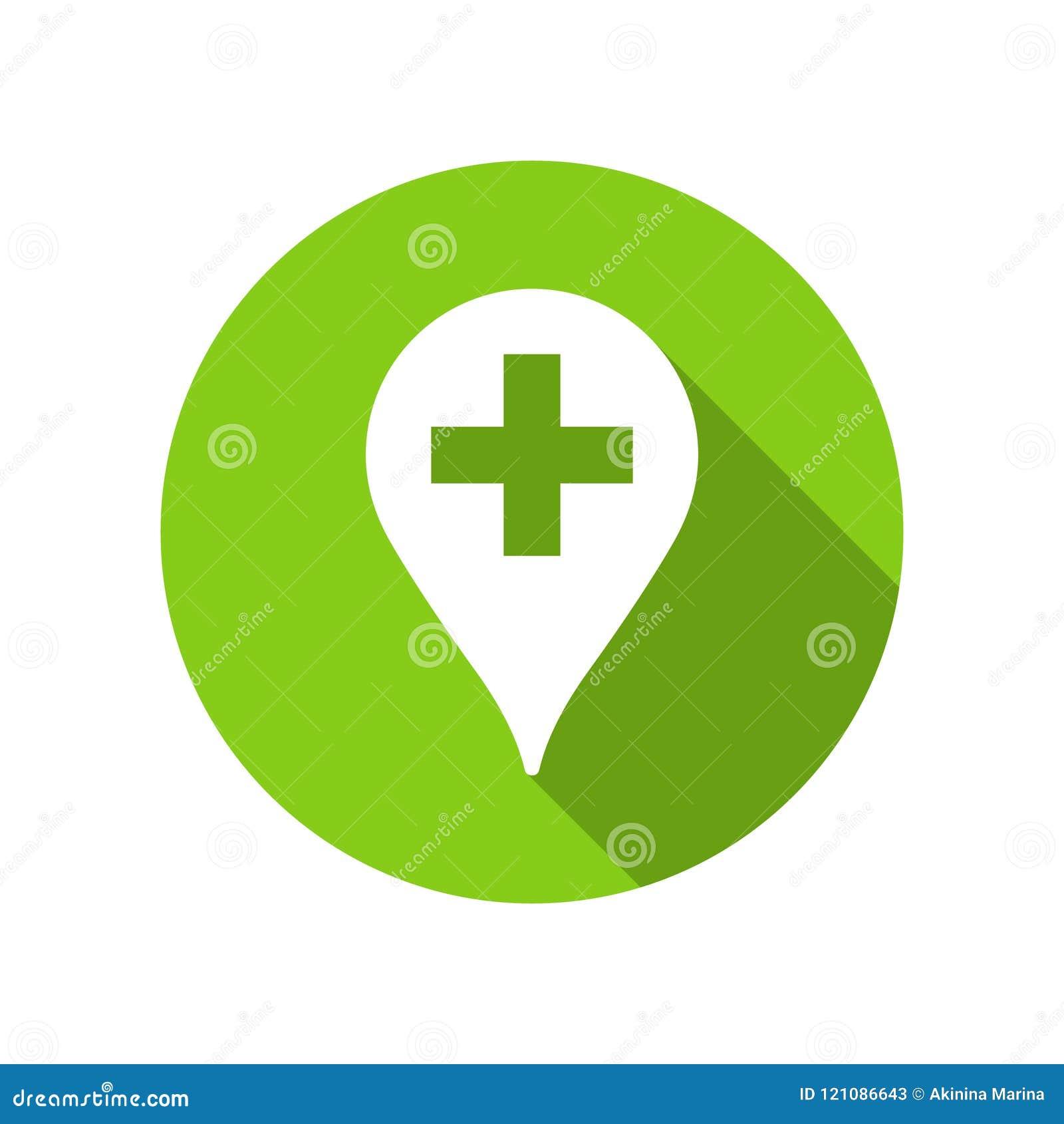 Grön pekare för apotek för illustration av medicin, ambulansen och doktorer