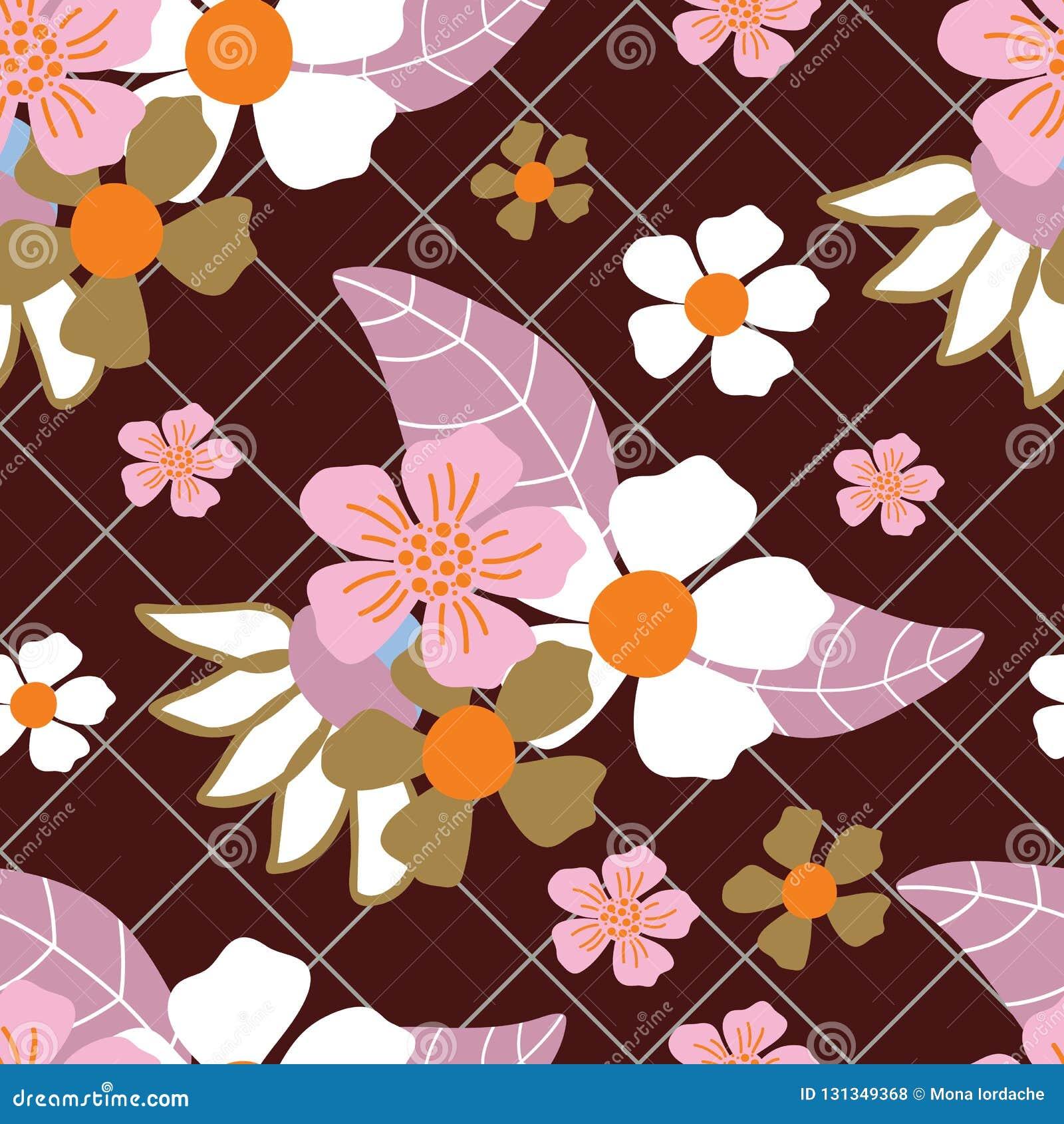 Grön raster för vita, rosa orange blommor och mörkt - sömlös modell för röd bakgrund