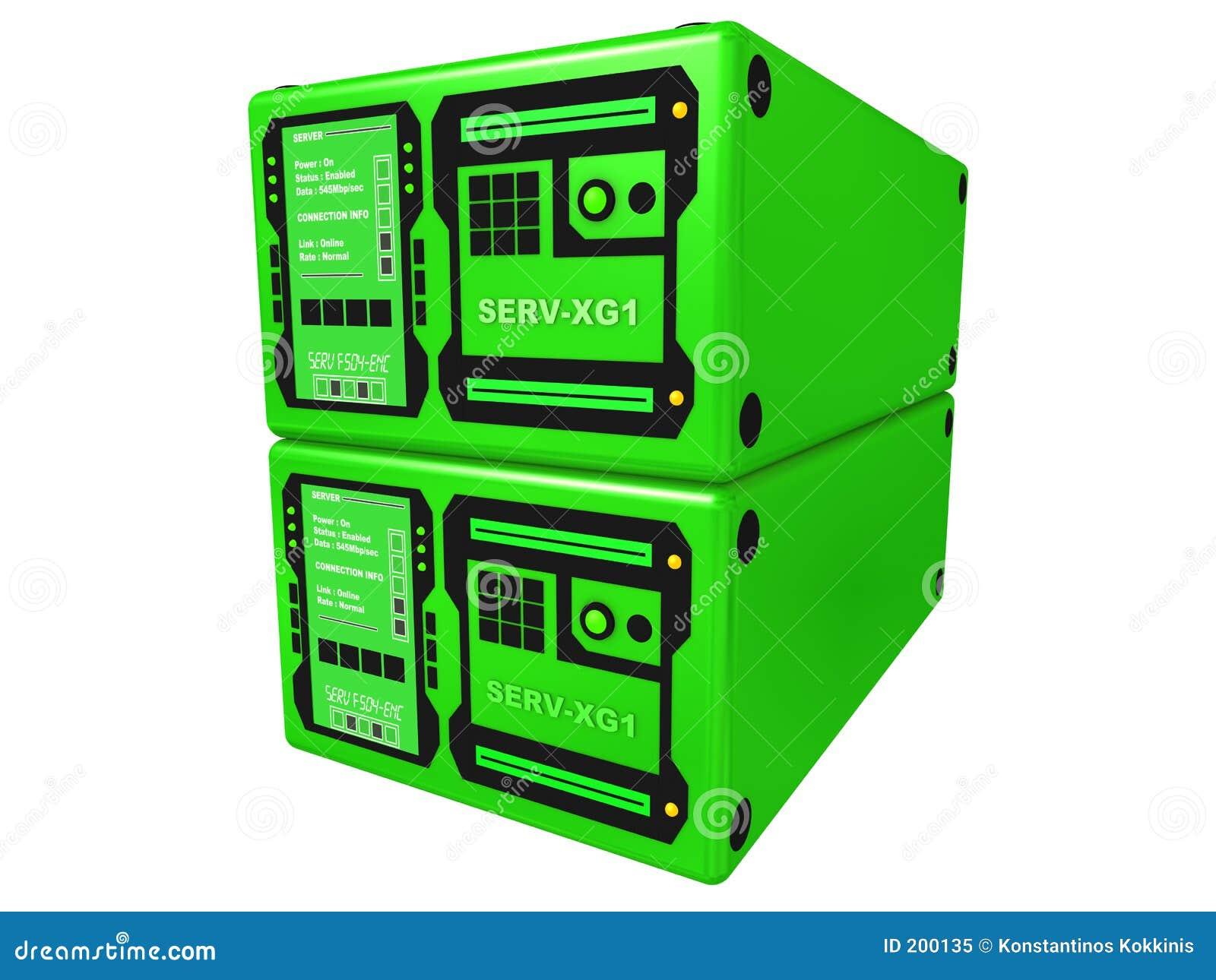 Grön server 2 3d